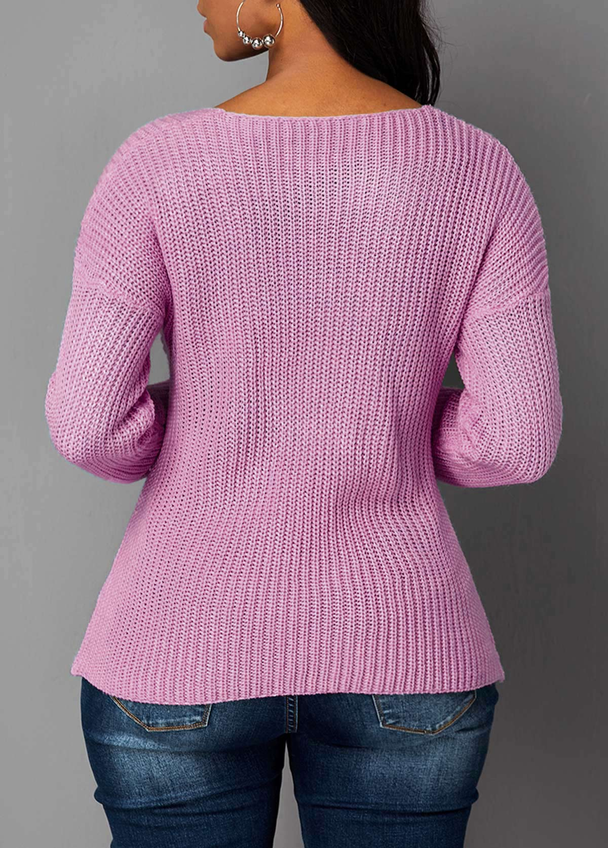 Cutout Front Asymmetric Hem Light Pink Sweater