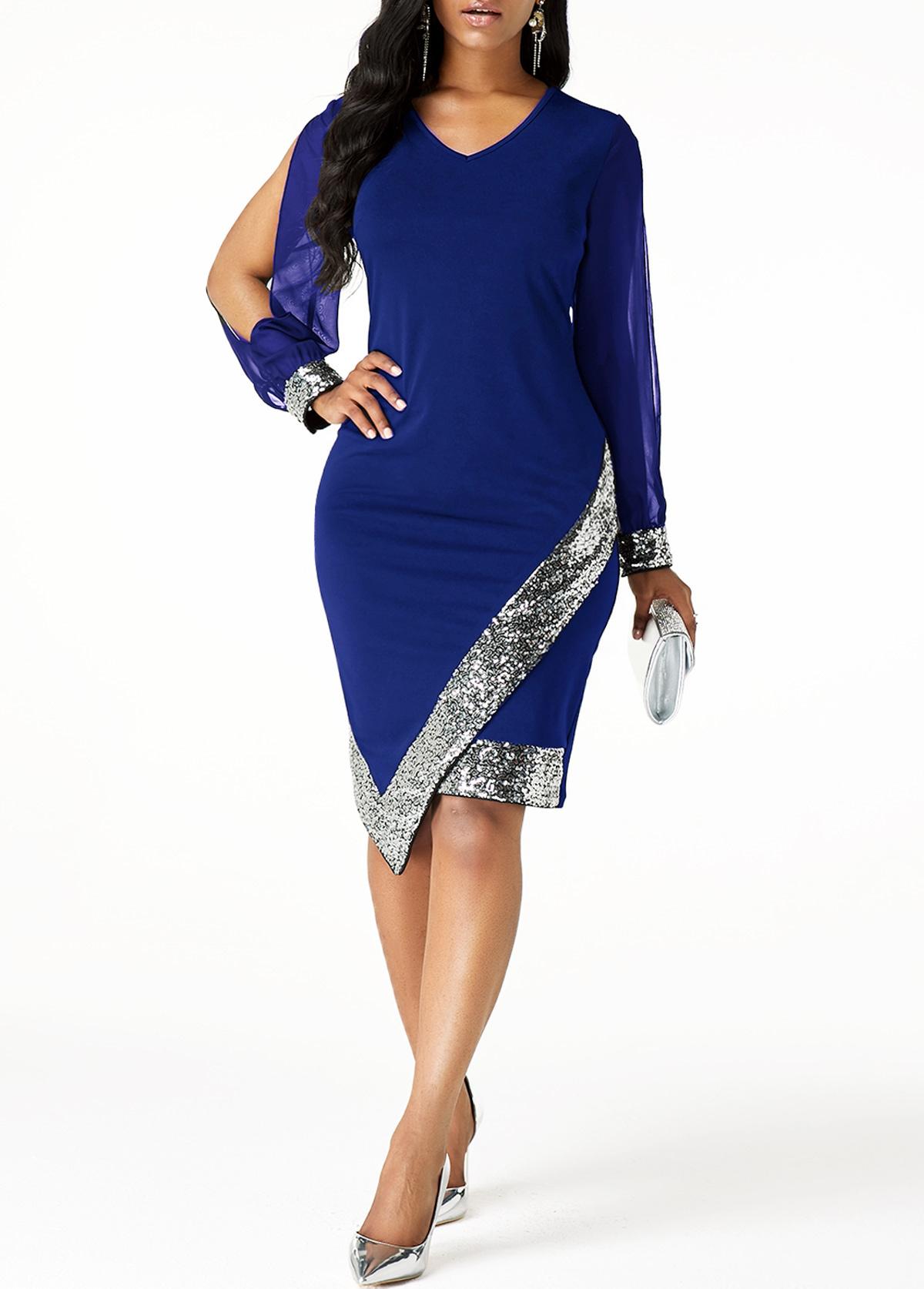 Cutout Sleeve Sequin Panel Asymmetric Hem Sheath Dress