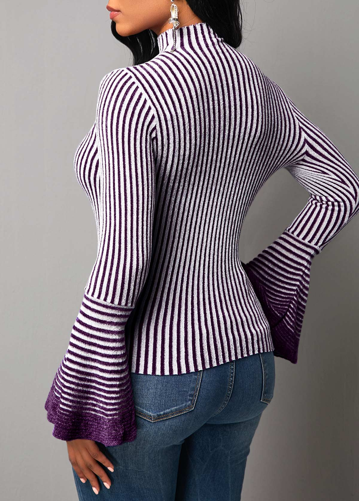 Stripe Pattern Flare Sleeve High Neck Sweater