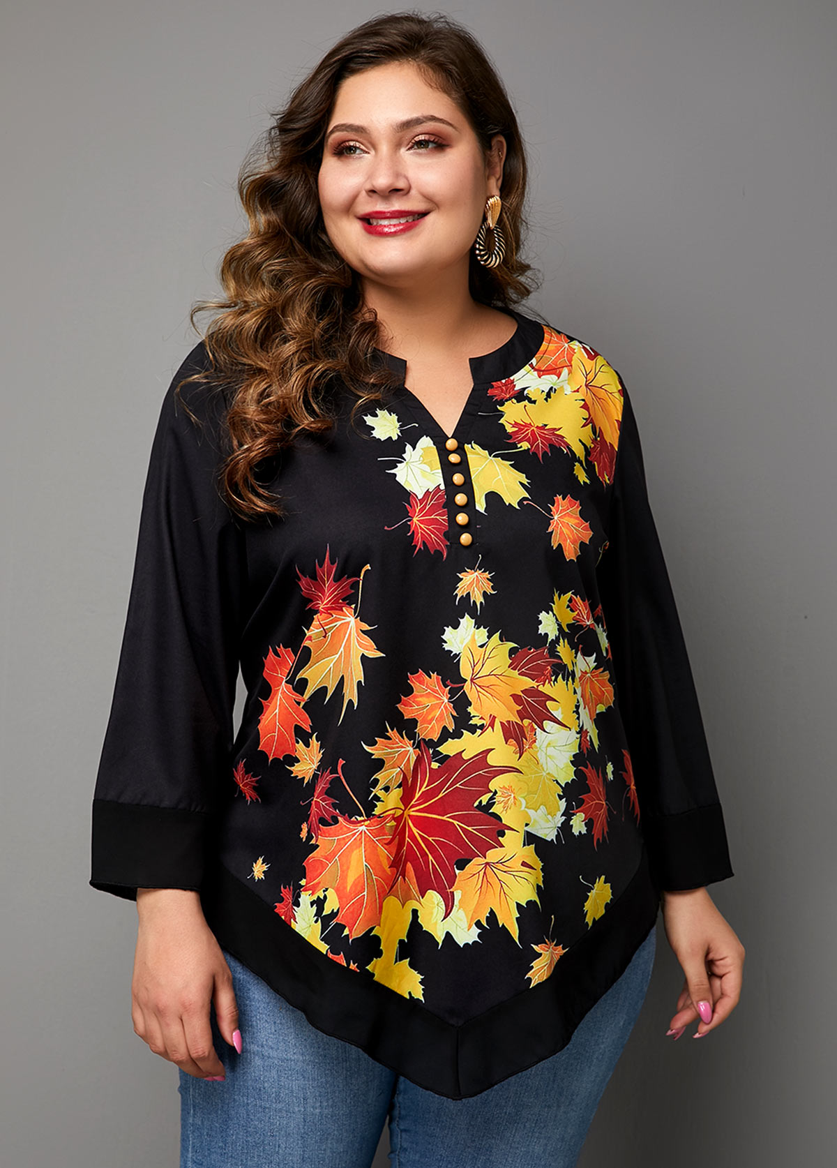 Plus Size Split Neck Asymmetric Hem Printed T Shirt