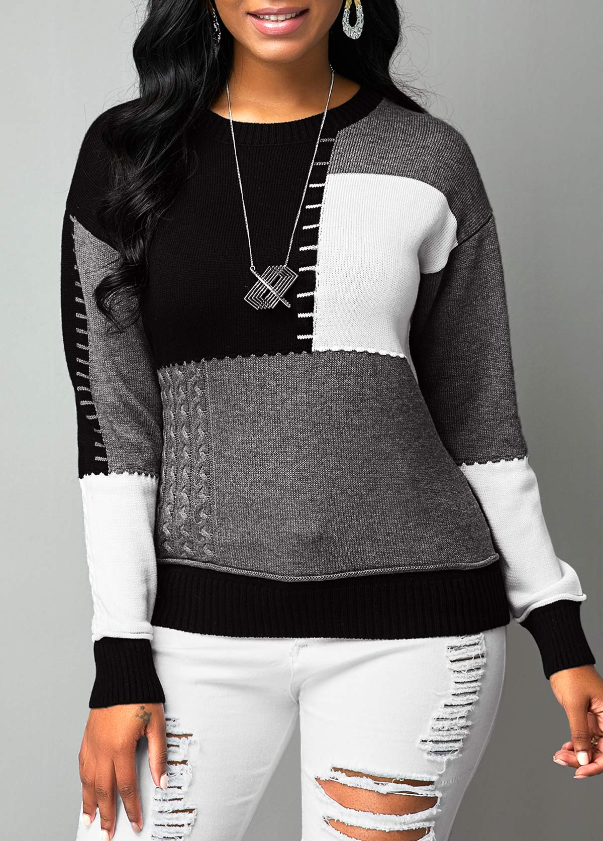 Color Block Long Sleeve Round Neck Sweater