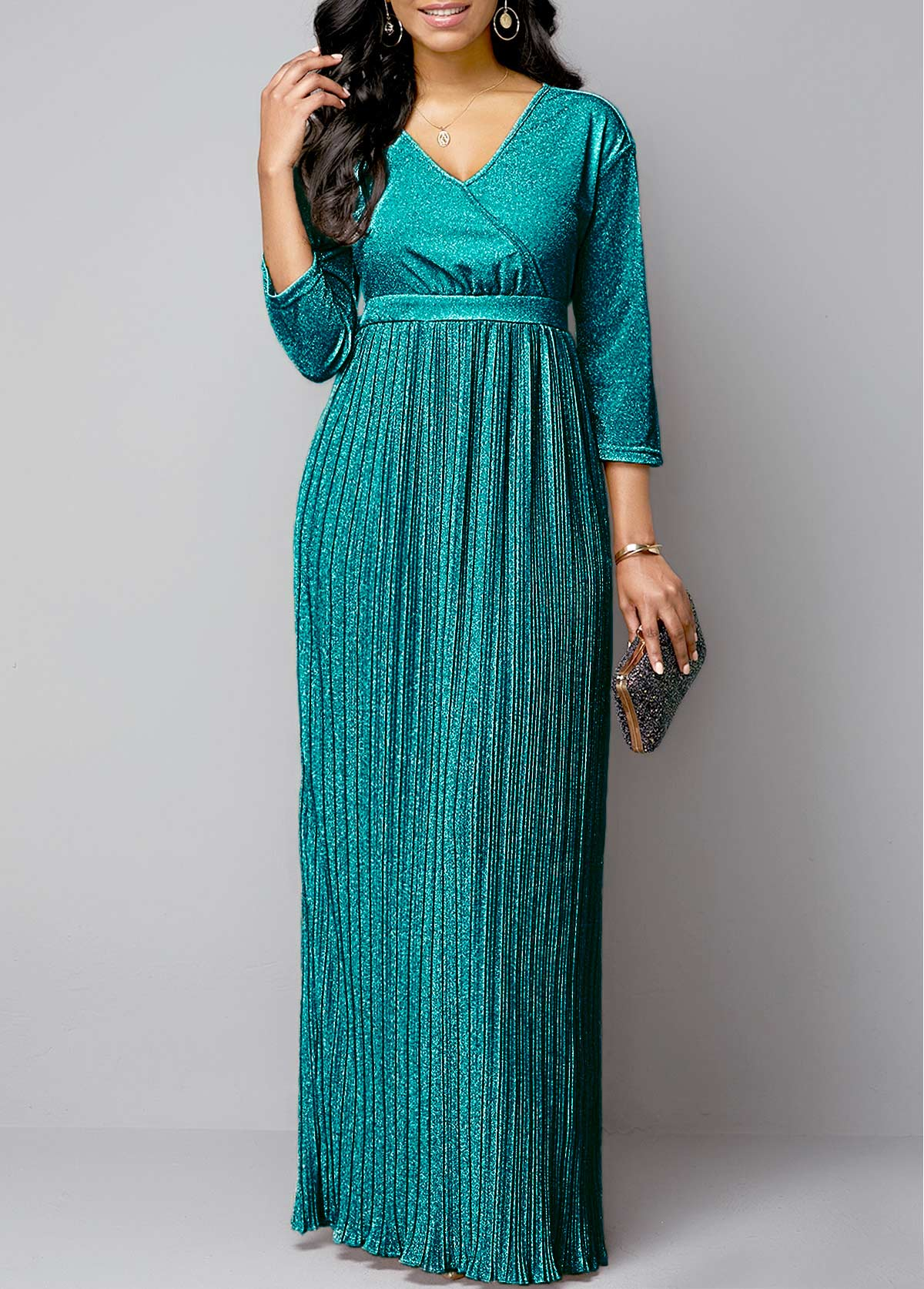 Plunging Neck Pleated Hem Hot Stamping Maxi Dress