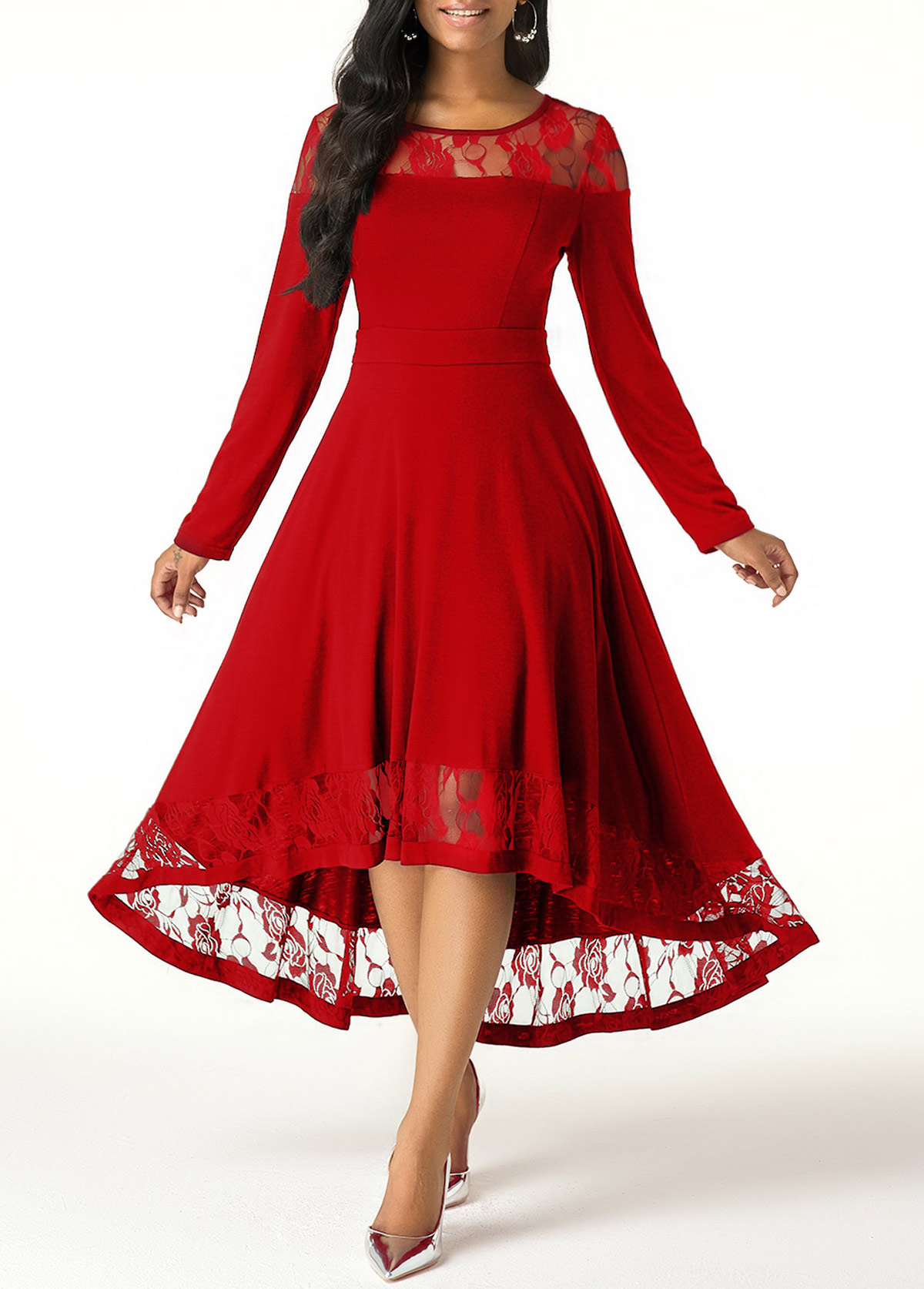 Wine Red Lace Panel High Low Dress
