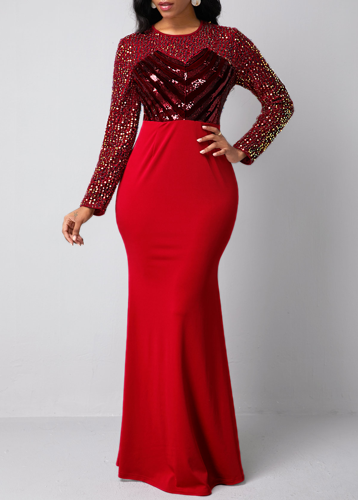 Sequin Detail Long Sleeve Red Mermaid Dress