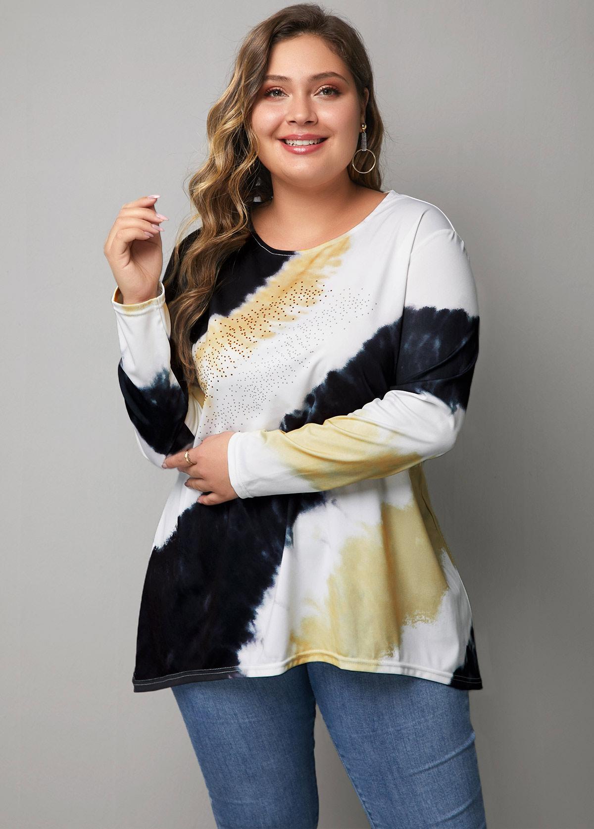 Multicolor Plus Size Long Sleeve T Shirt