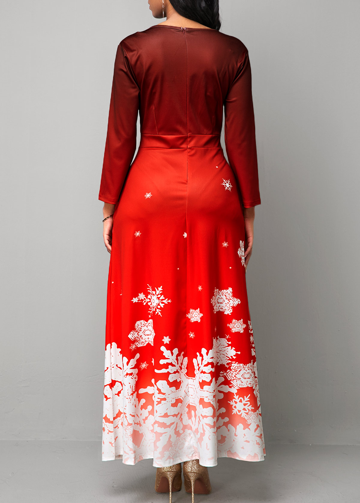 Christmas Snowflake Print Cutout Front Red Maxi Dress