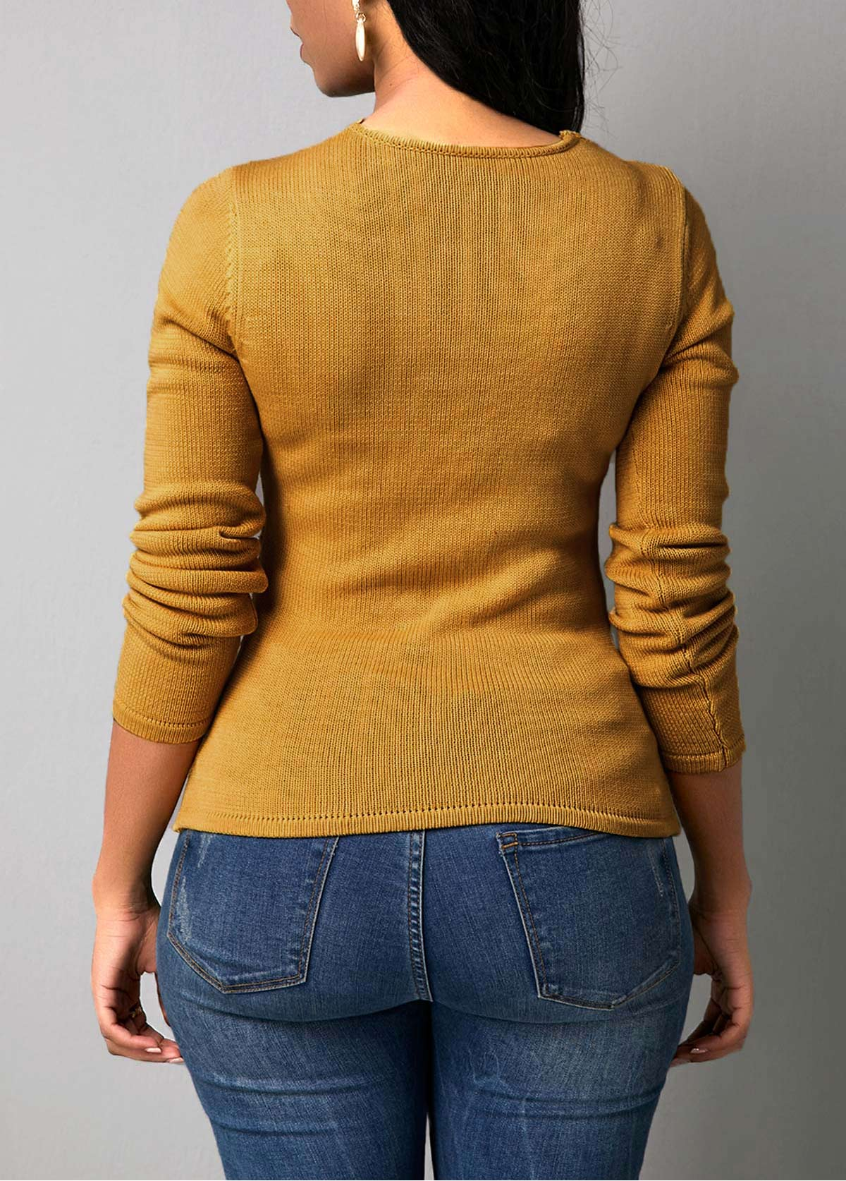 Rib Knit Beads Embellished Pullover Sweater