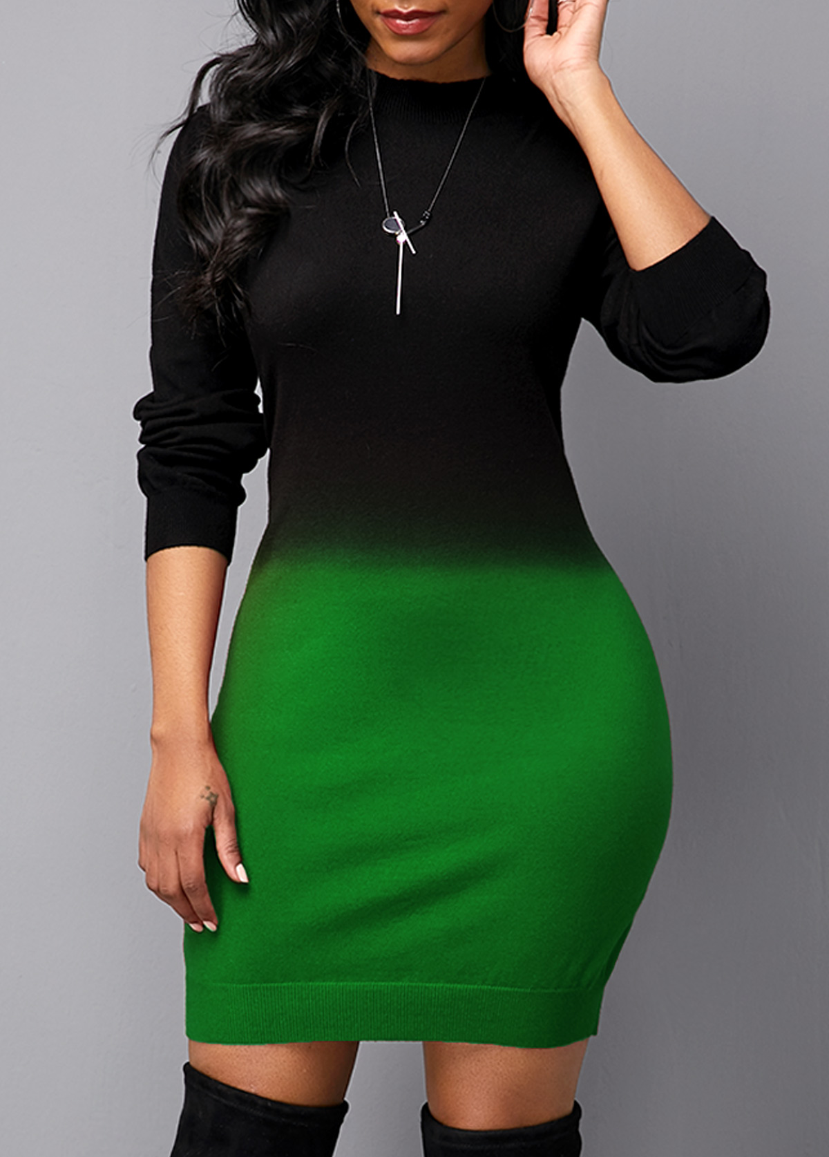 Long Sleeve Gradient Round Neck Sweater Dress