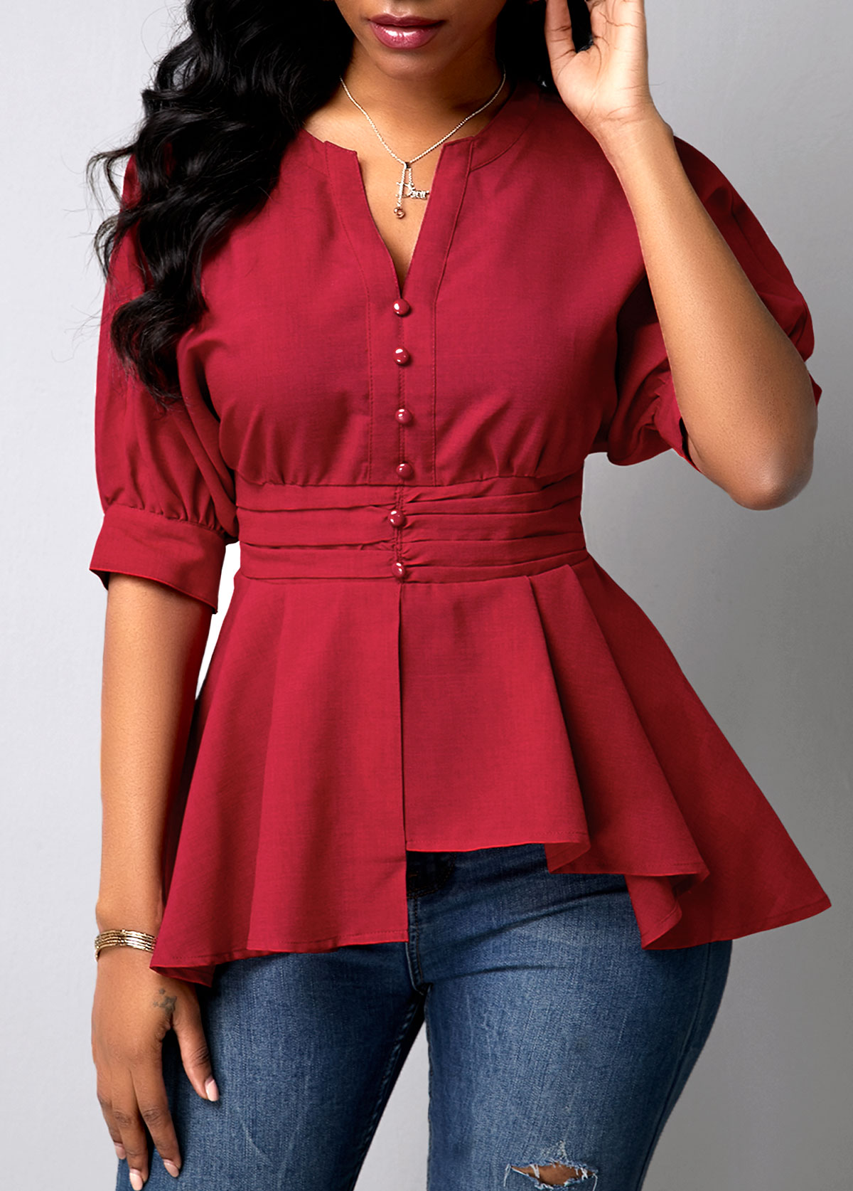Button Detail Wine Red Peplum Waist Blouse
