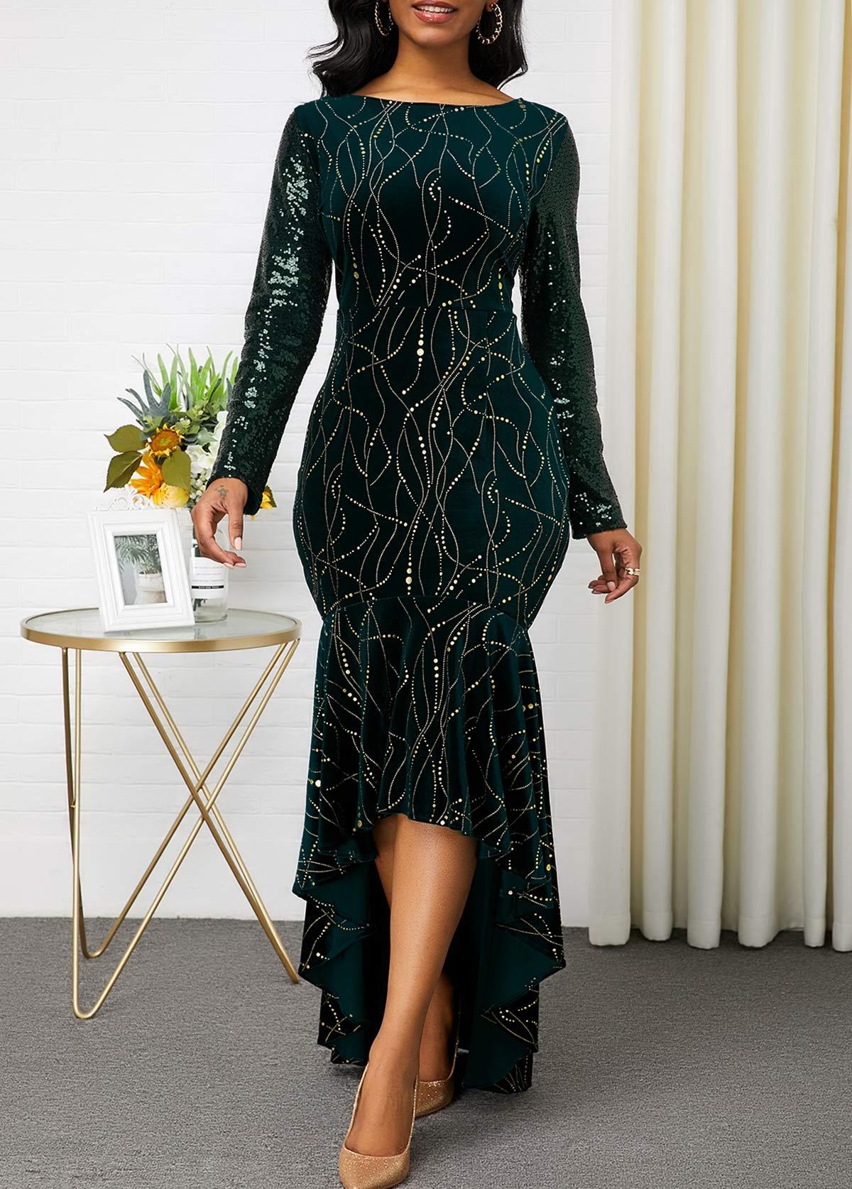 Boat Neck High Low Sequin Embellished Dresss