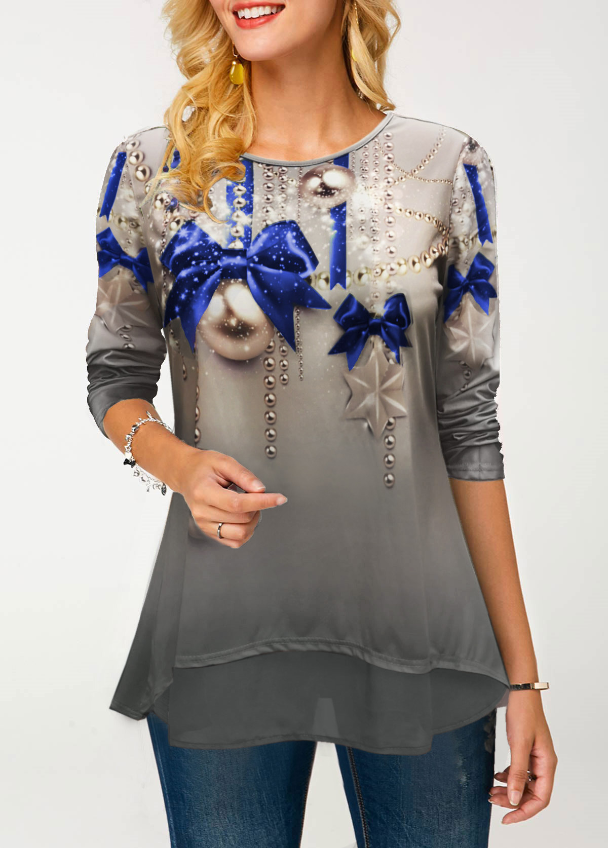 Round Neck Printed Long Sleeve T Shirt