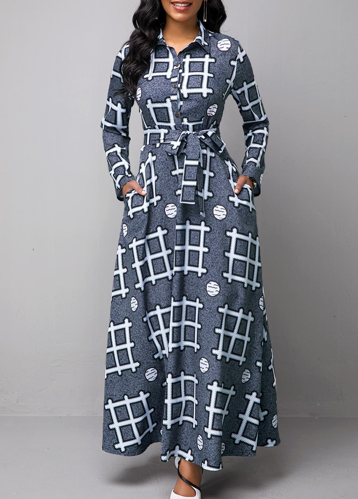 Turndown Collar Geometric Print Long Sleeve Dress