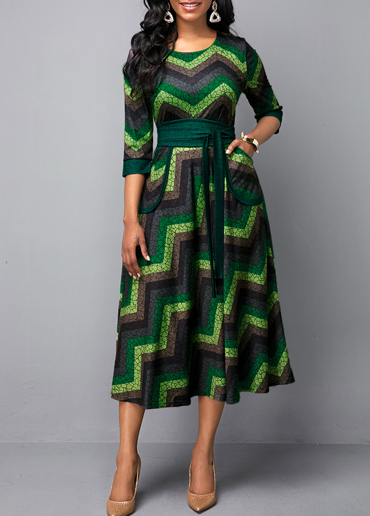 Multi Color Belted Round Neck Printed Dress