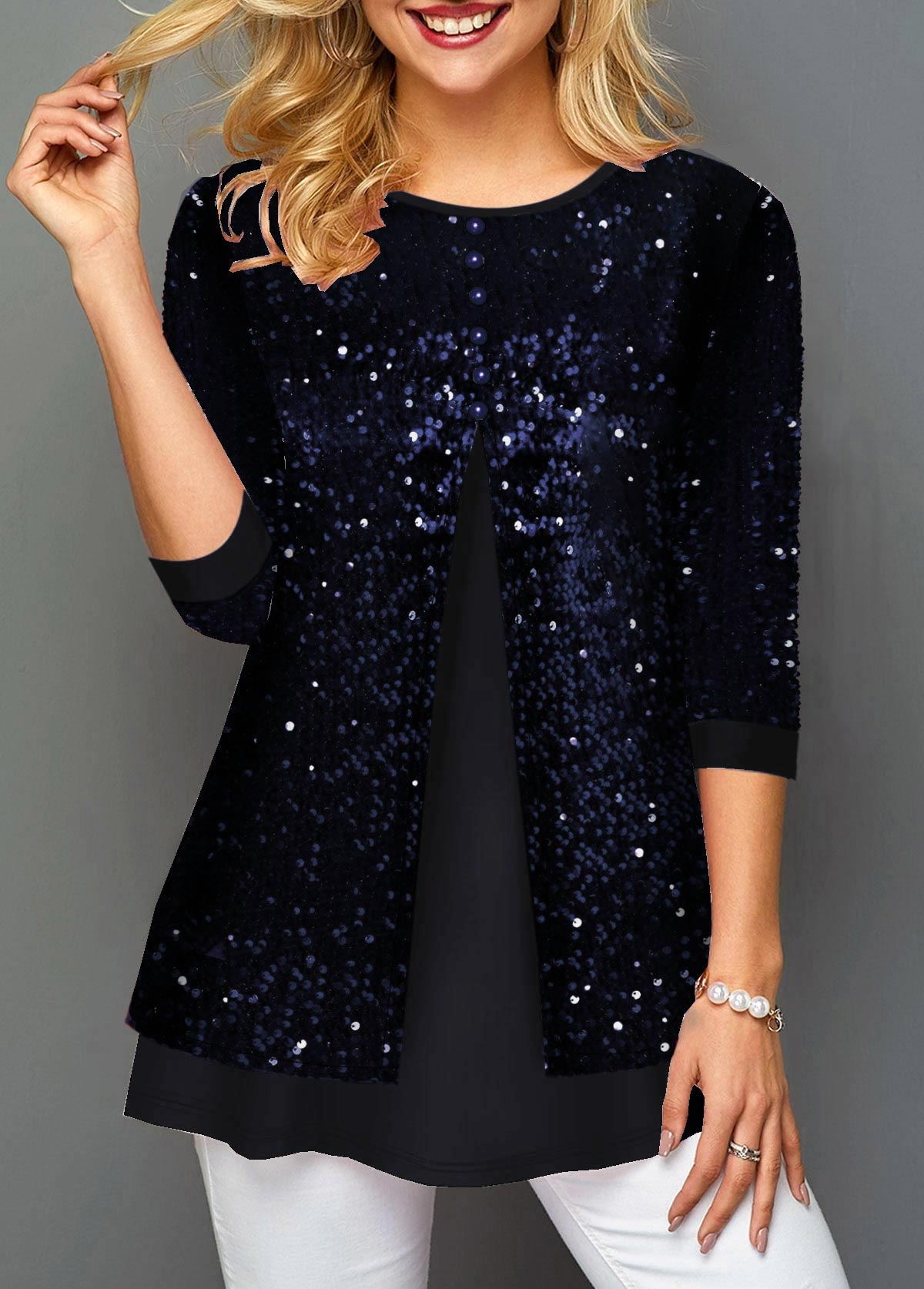 Sequin Detail Faux Two Piece Round Neck T Shirt