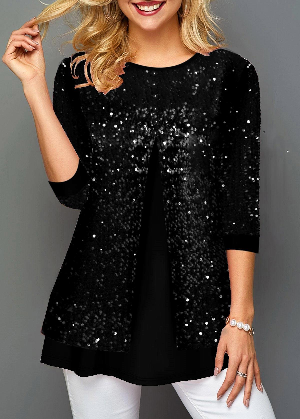 Faux Two Piece Sequin Detail Black T Shirt