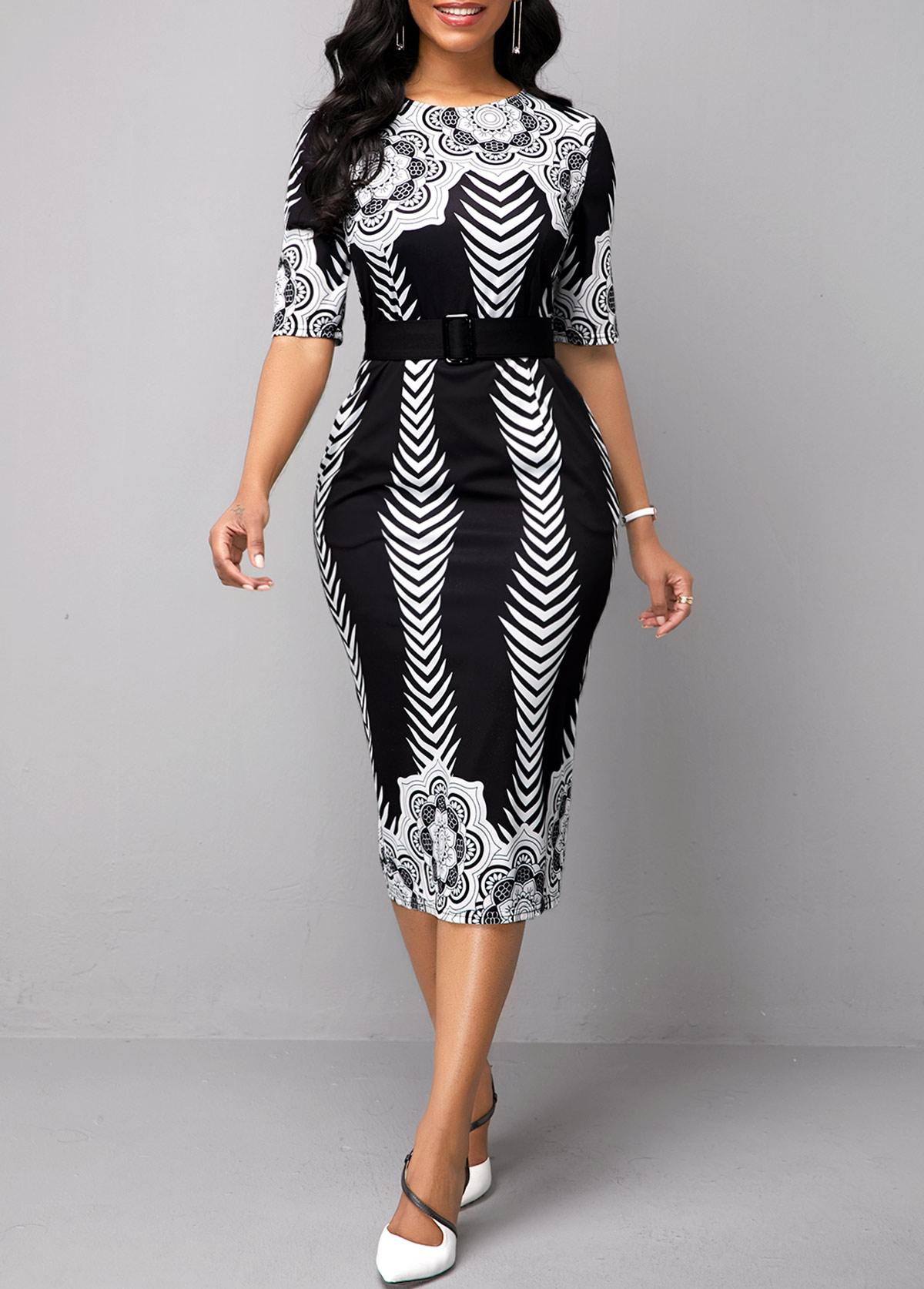 Half Sleeve Belted Tribal Print Dress