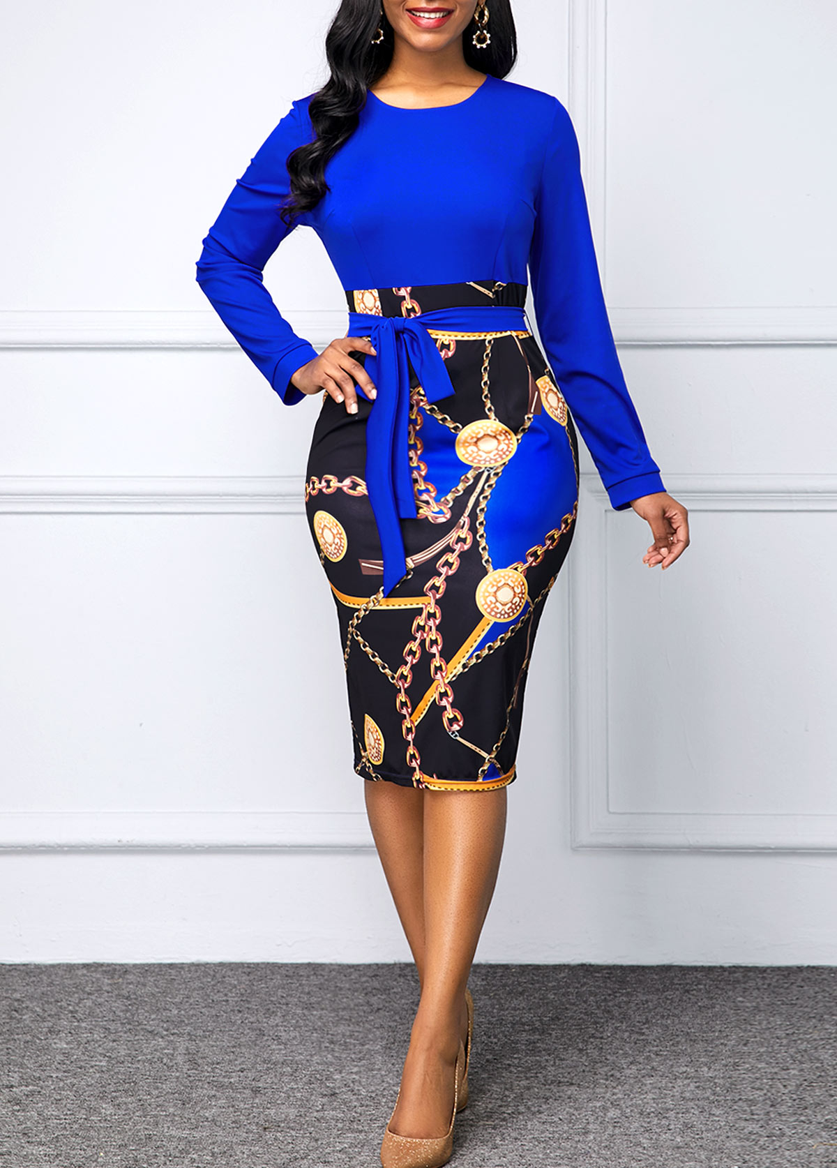 Printed Belted Long Sleeve Bodycon Dress