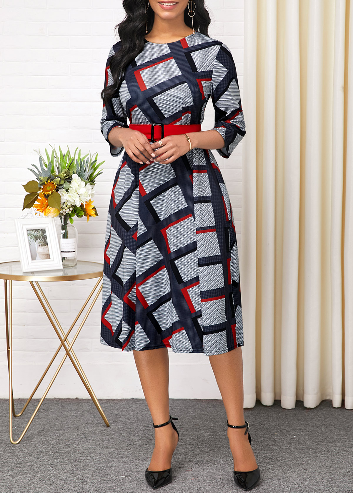 Plaid Print Long Sleeve Round Neck Belted Dress