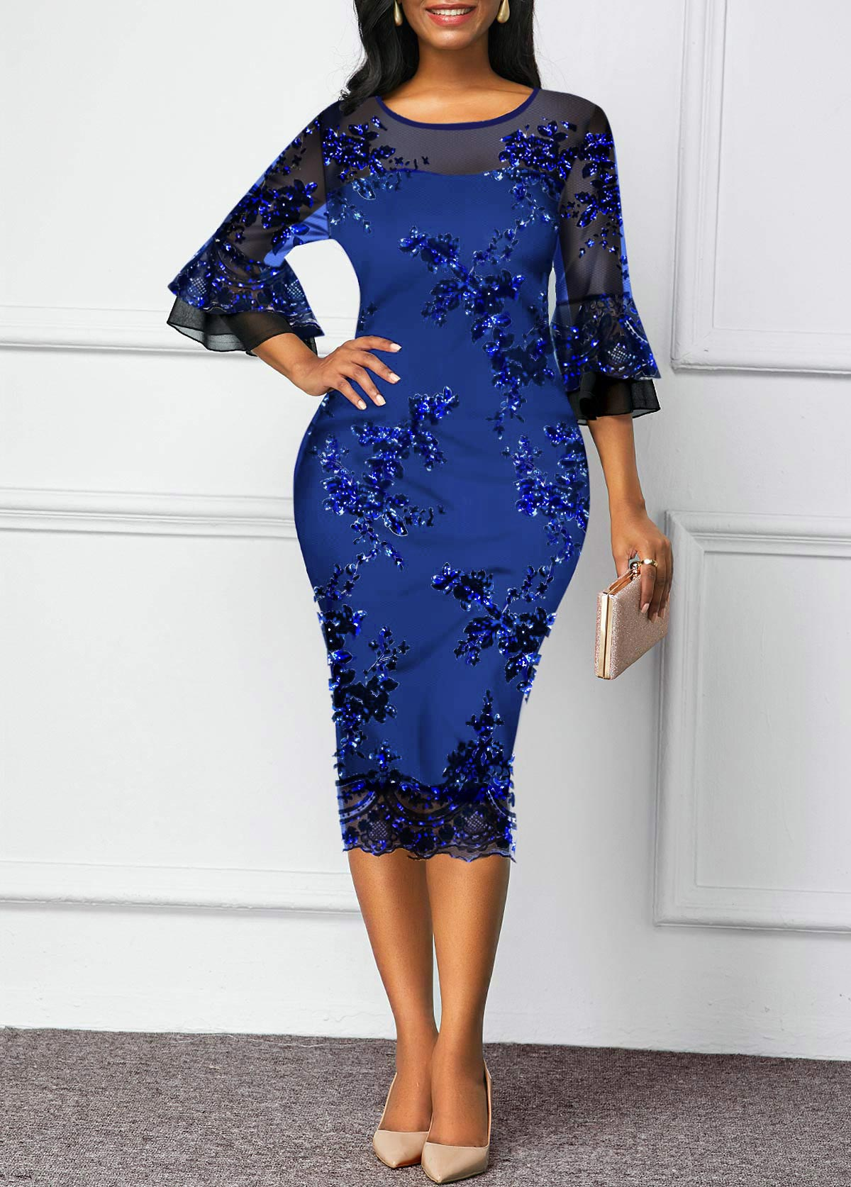 Flare Sleeve Mesh Panel Sequin Detail Sheath Dress