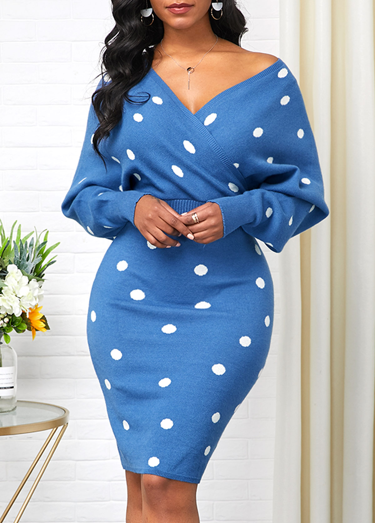 V Neck Blue Polka Dot Print Sweater Dress