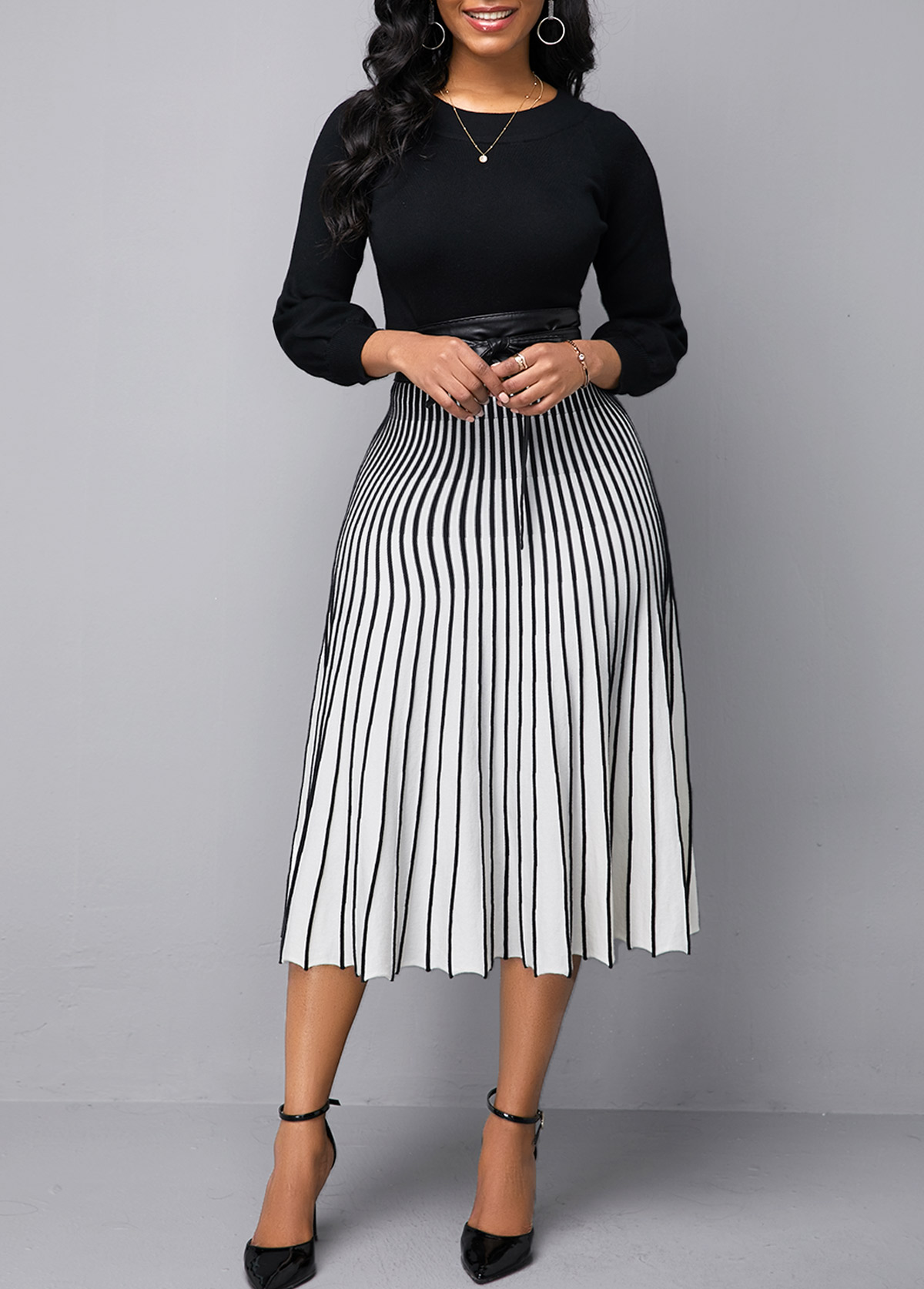 Round Neck Color Block Vertical Striped Sweater Dress