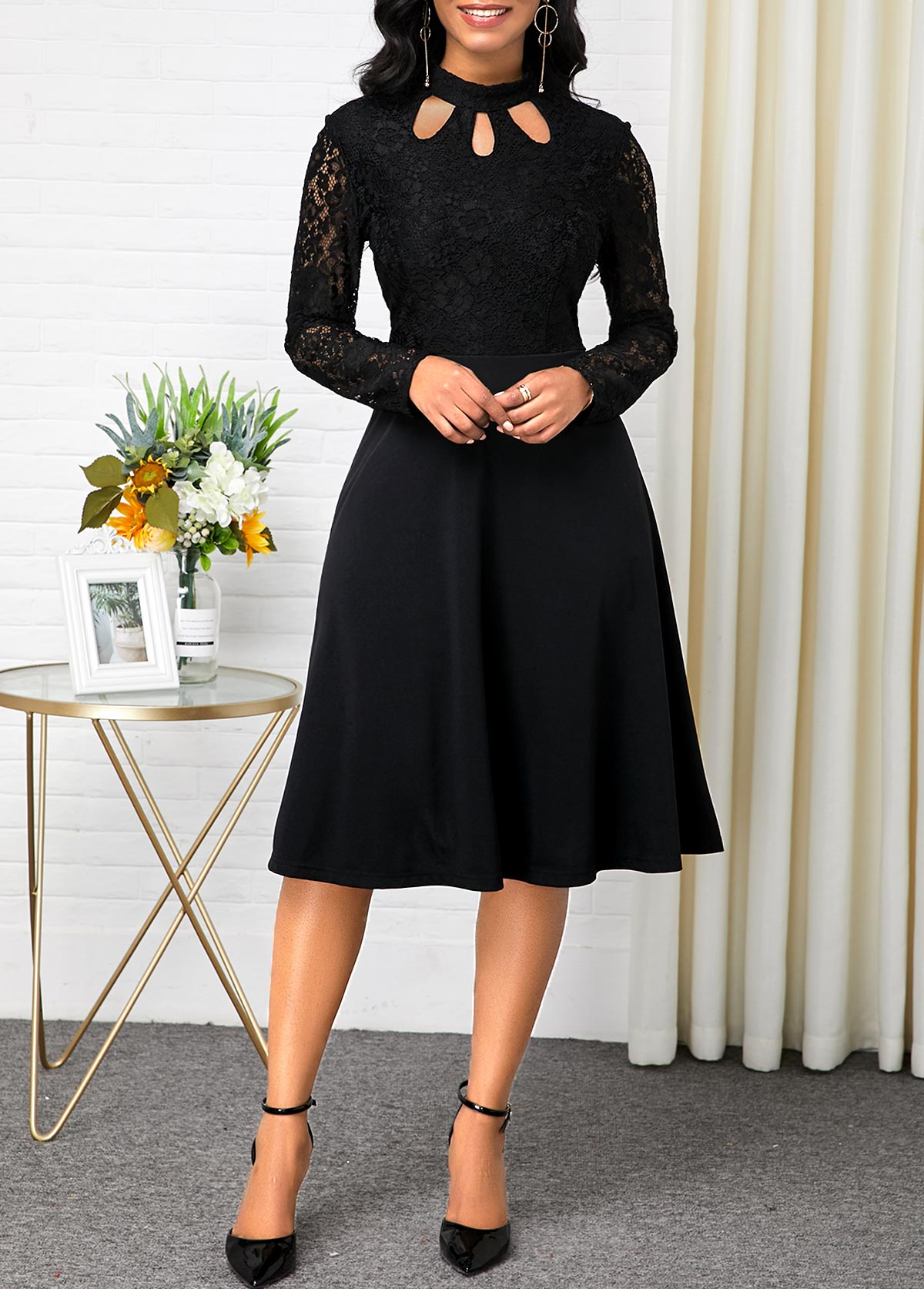 Long Sleeve Lace Patchwork Black Dress