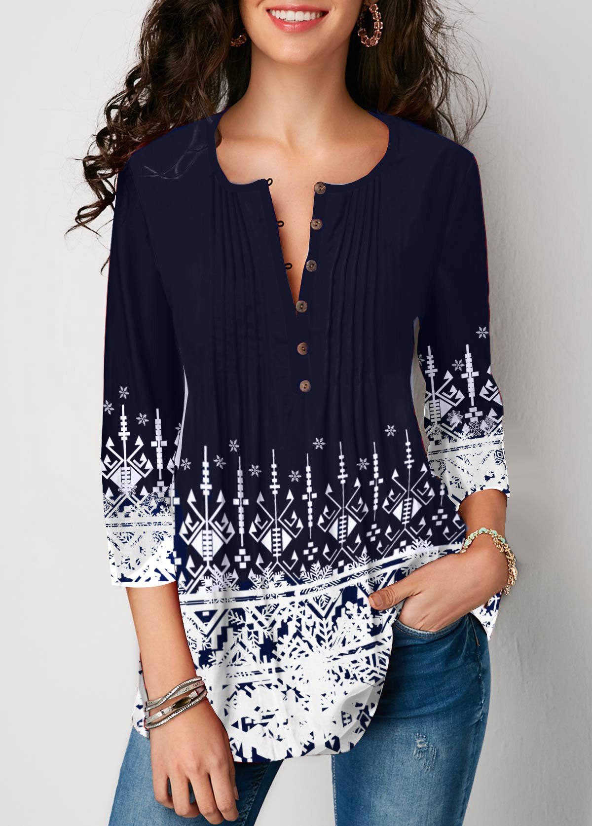 Printed Crinkle Chest Three Quarter Sleeve Blouse