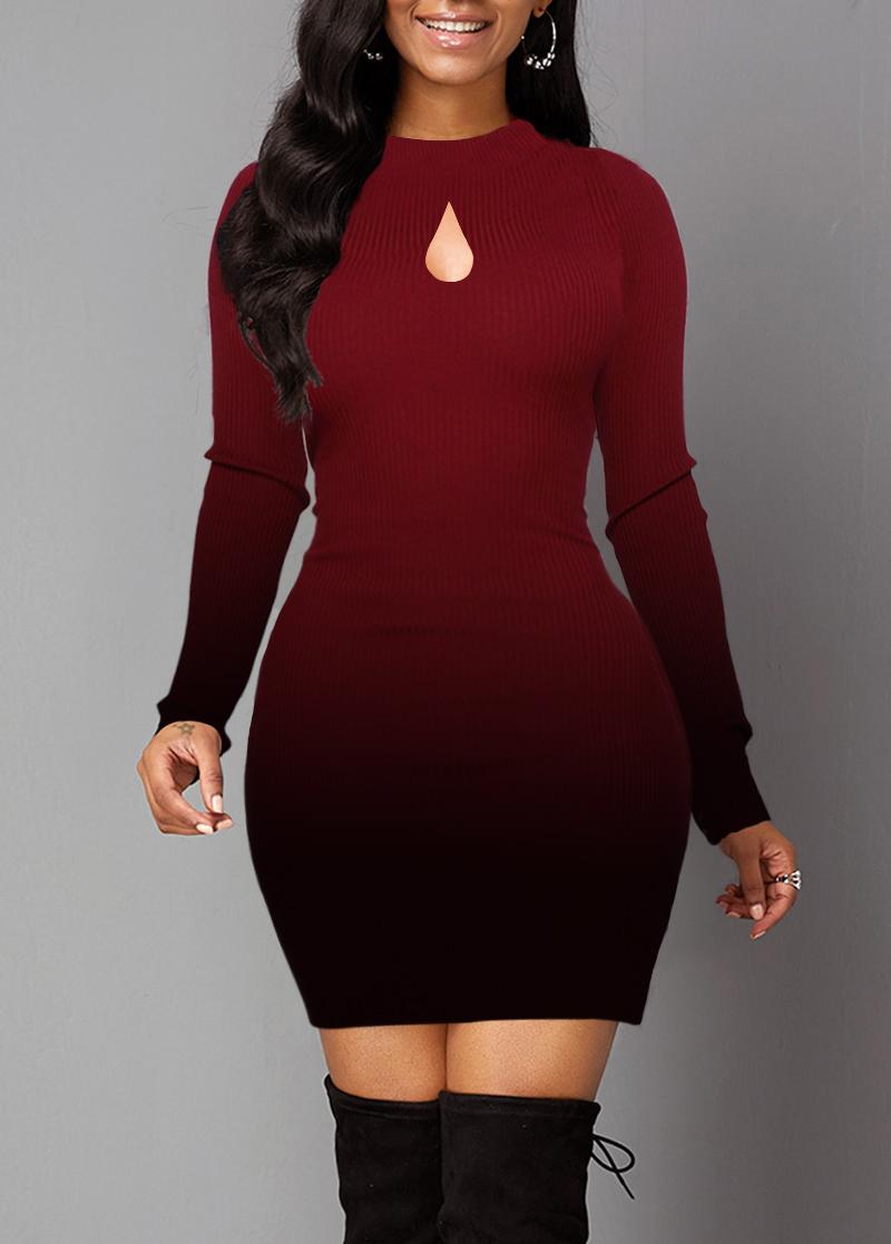 Lace Panel Gradient Long Sleeve Sweater Dress