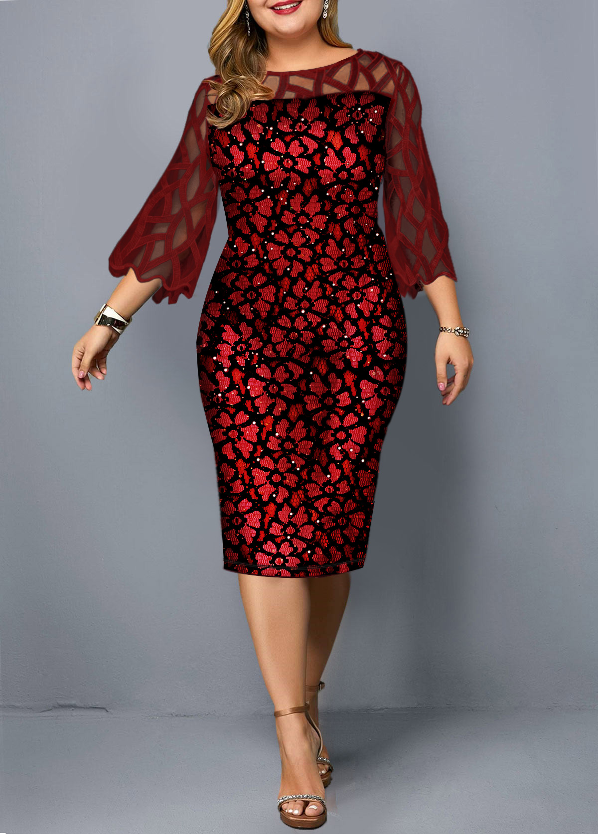 Mesh Panel Plus Size Three Quarter Sleeve Dress
