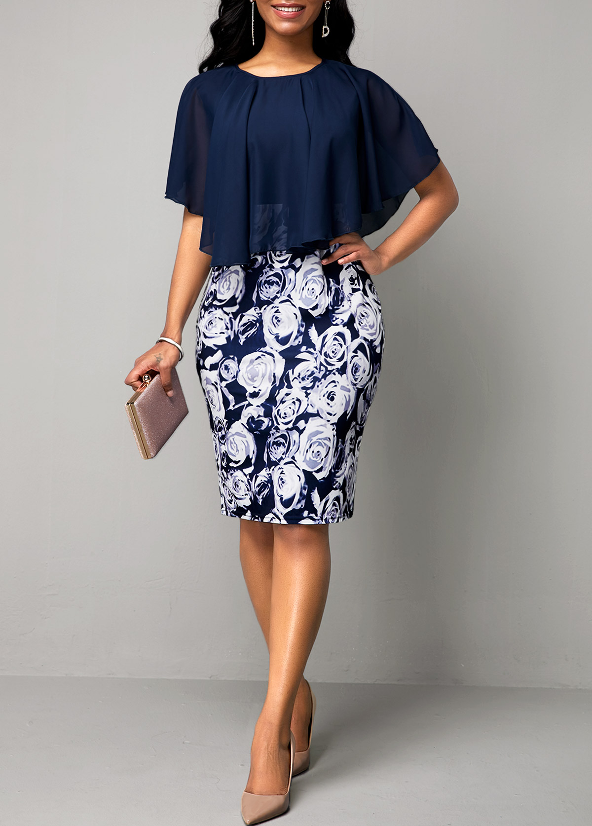 Faux Two Piece Navy Blue Flower Print Dress