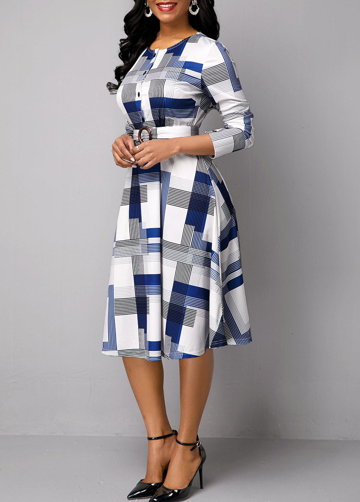 Belted Button Detail Long Sleeve Print Dress