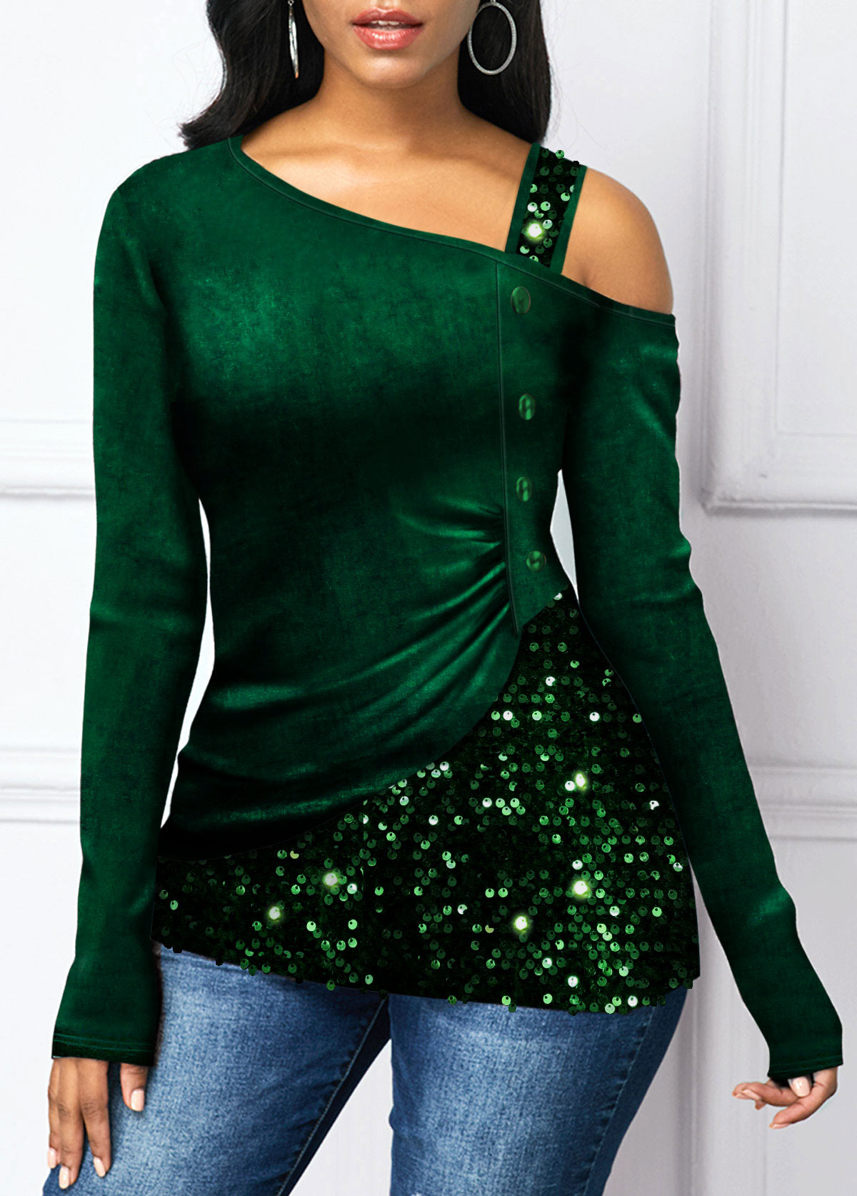 Long Sleeve Sequin Panel Cold Shoulder T Shirt