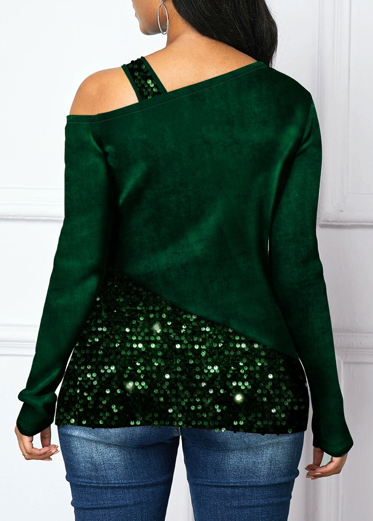 Long Sleeve Sequin Panel Cold Shoulder T Shirt