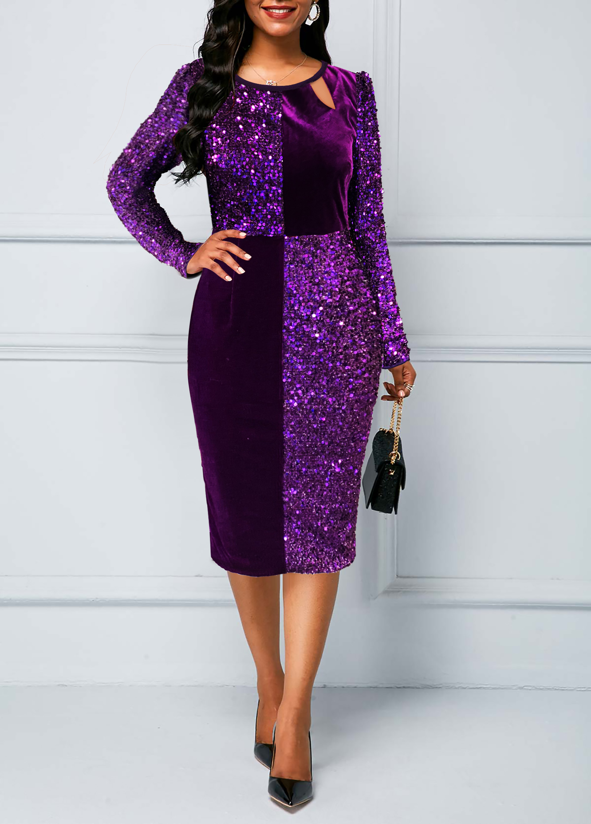 Long Sleeve Sequin Panel Split Neck Sheath Dress