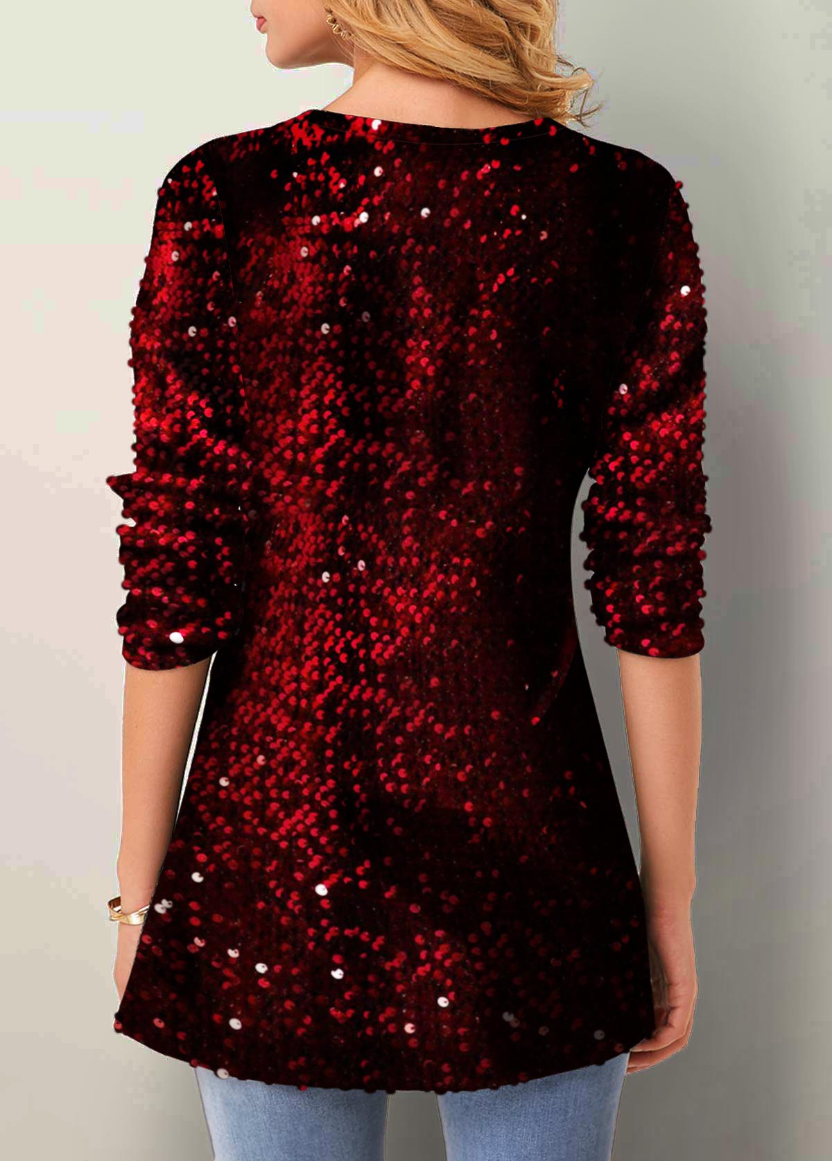 Cutout Neckline Sequin Detail Velvet Long Sleeve T Shirt