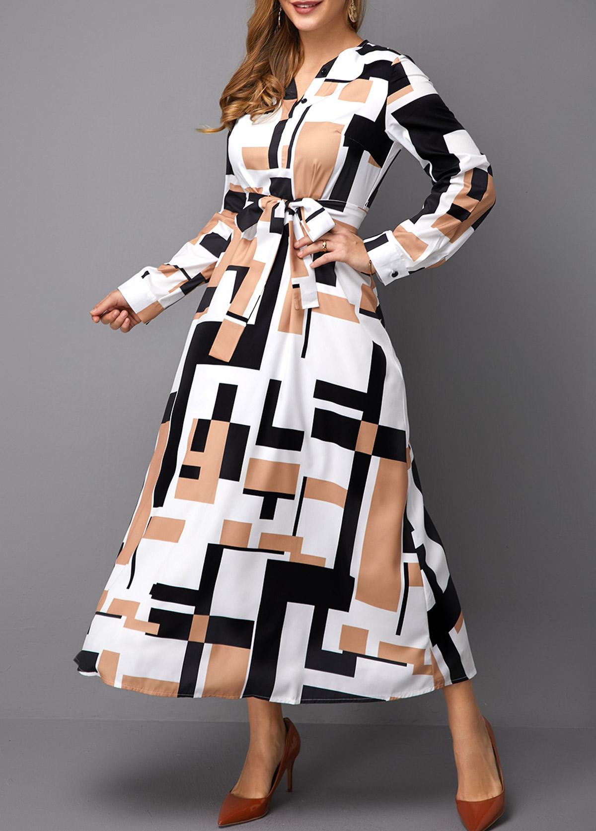 Belted Long Sleeve Geometric Print Maxi Dress