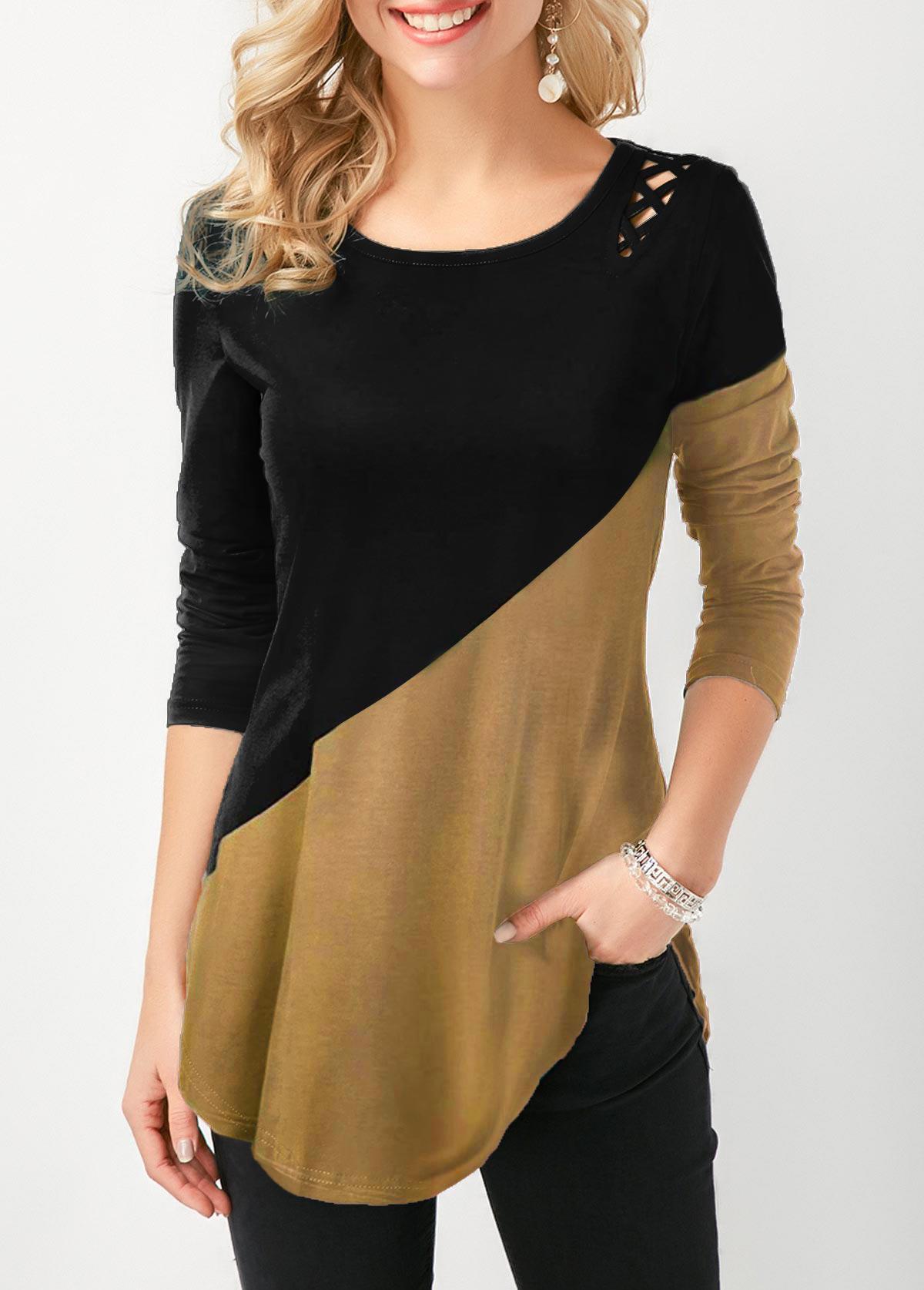 Lace Up Side Color Block Curved Hem T Shirt