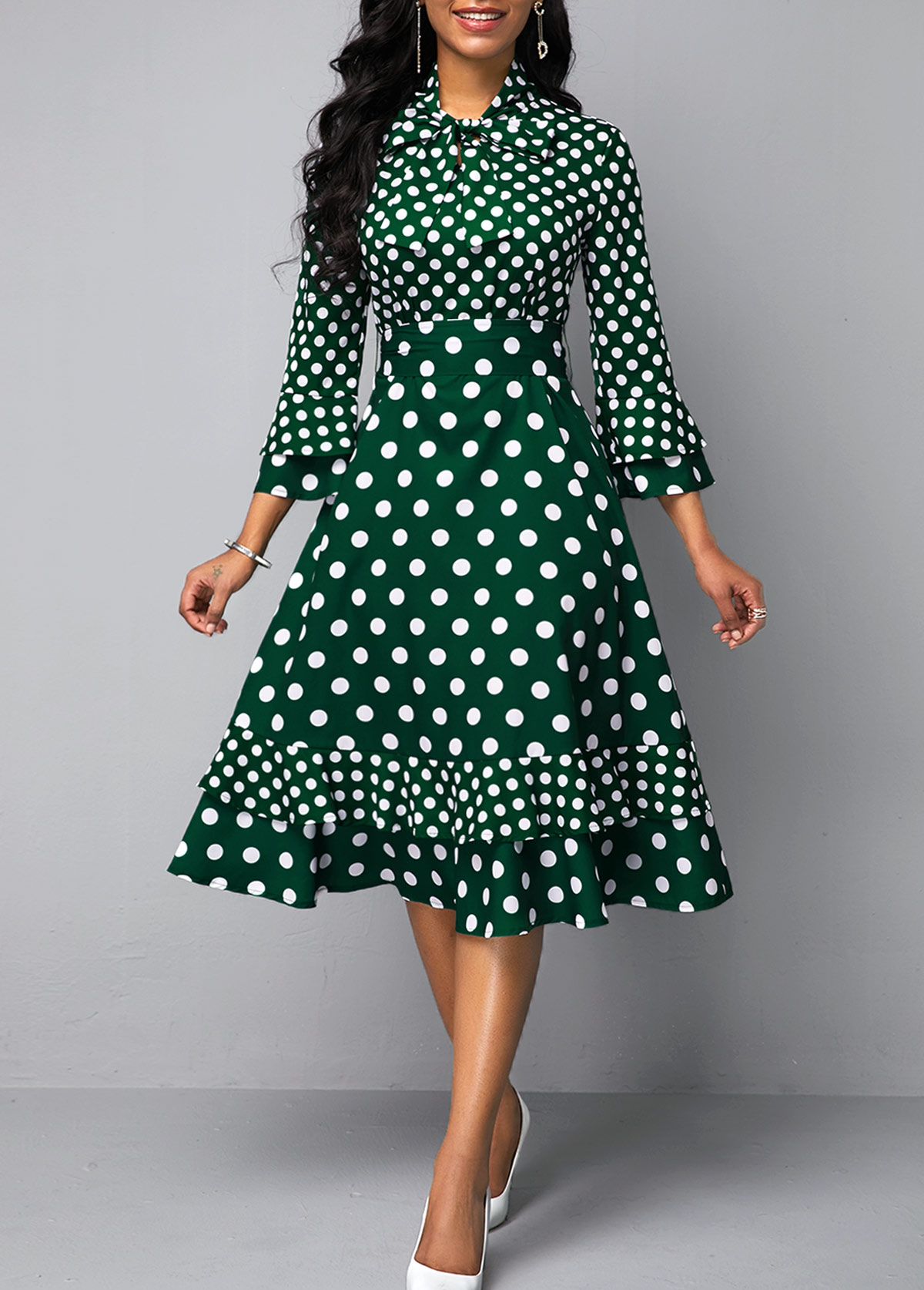 Bowknot Detail Dot Print Layered Bell Sleeve Dress