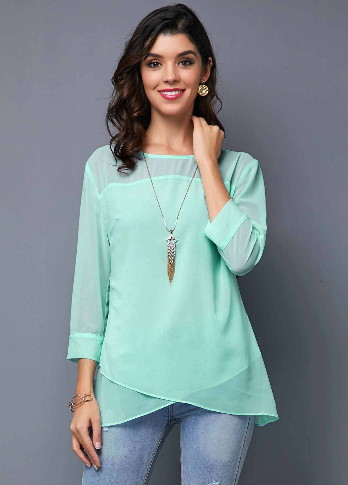 Light Blue Three Quarter Sleeve Crossover Hem T Shirt