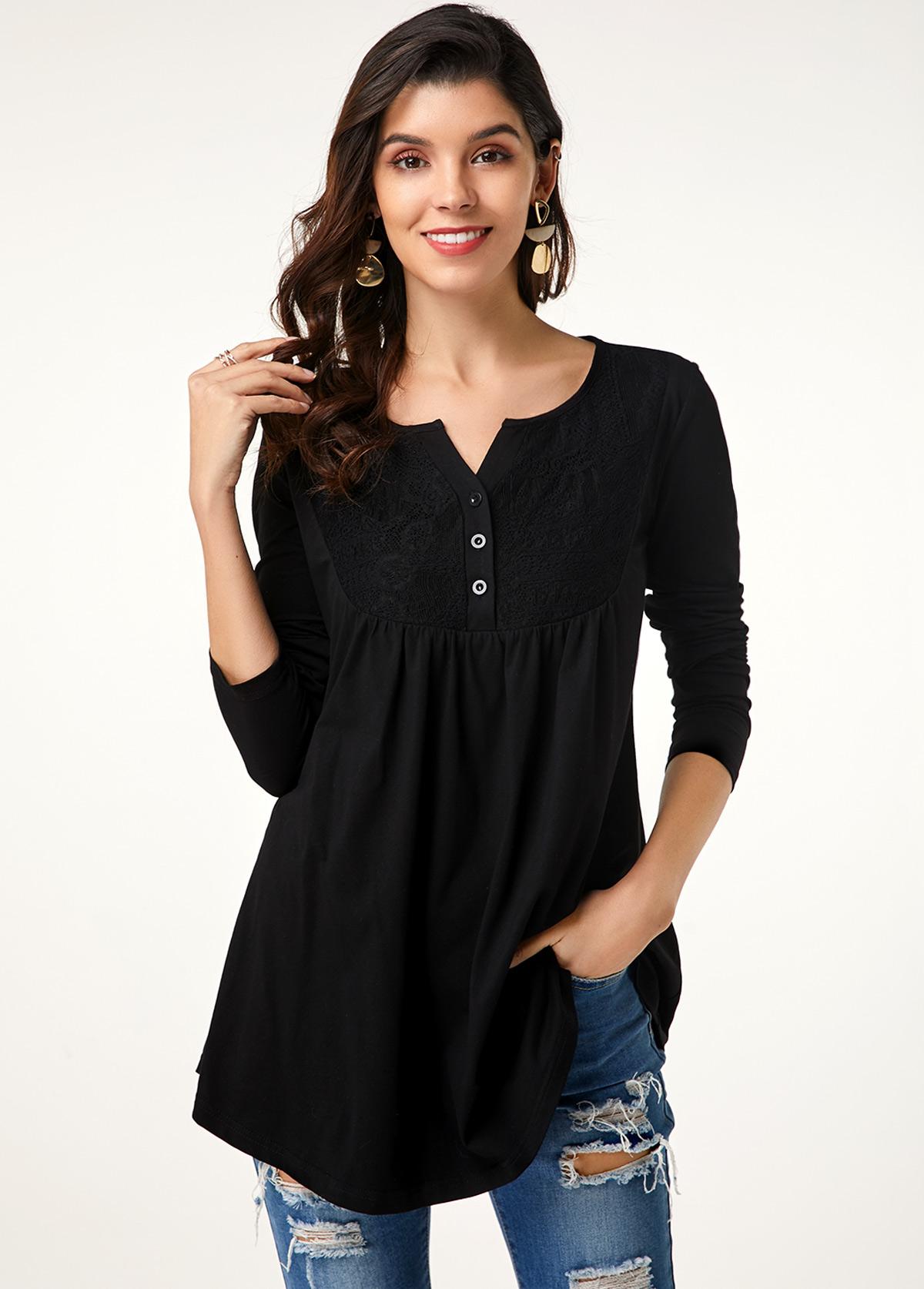 Long Sleeve Lace Stitching Button Up T Shirt