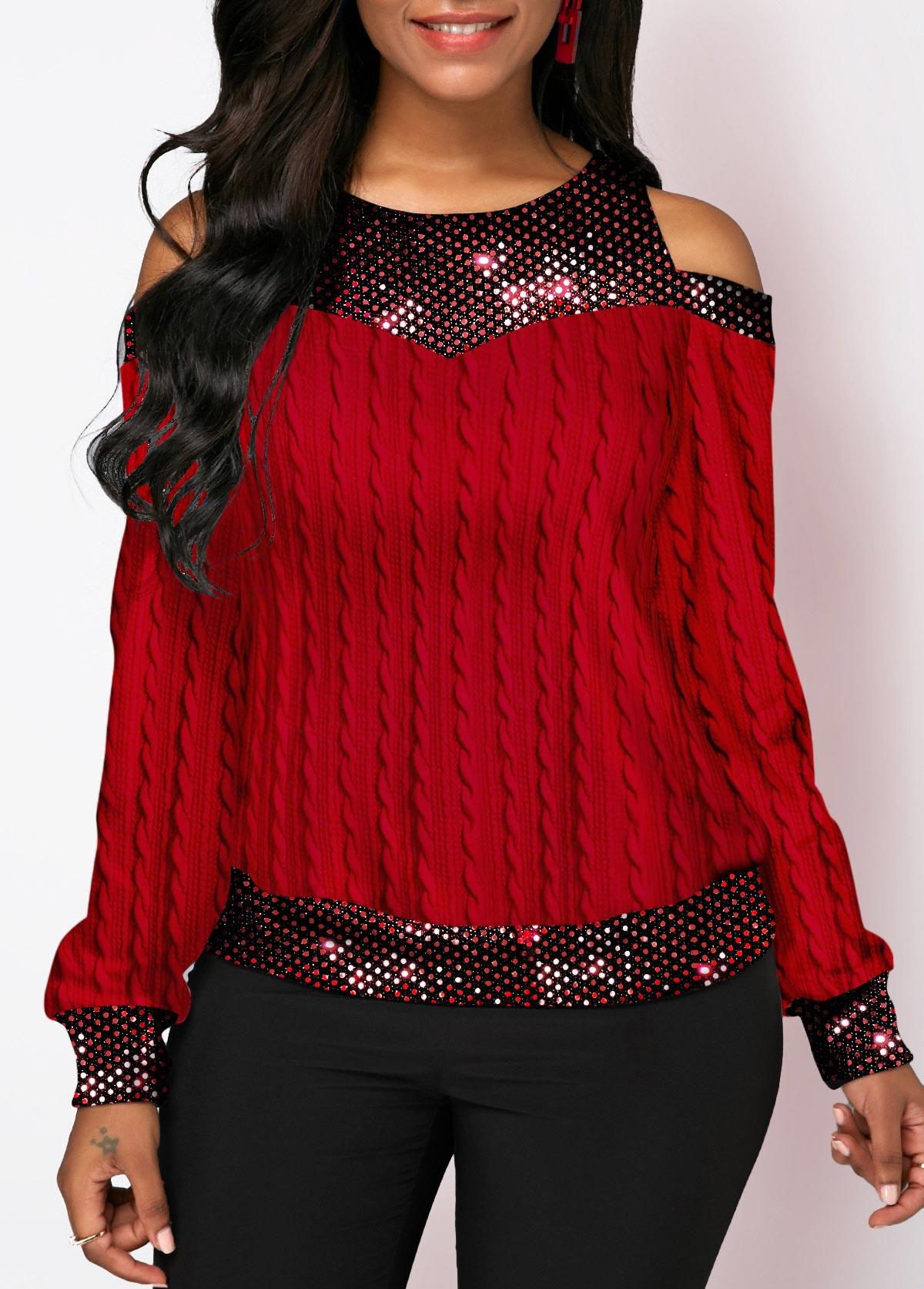 Cold Shoulder Sequin Panel Twist Detail T Shirt
