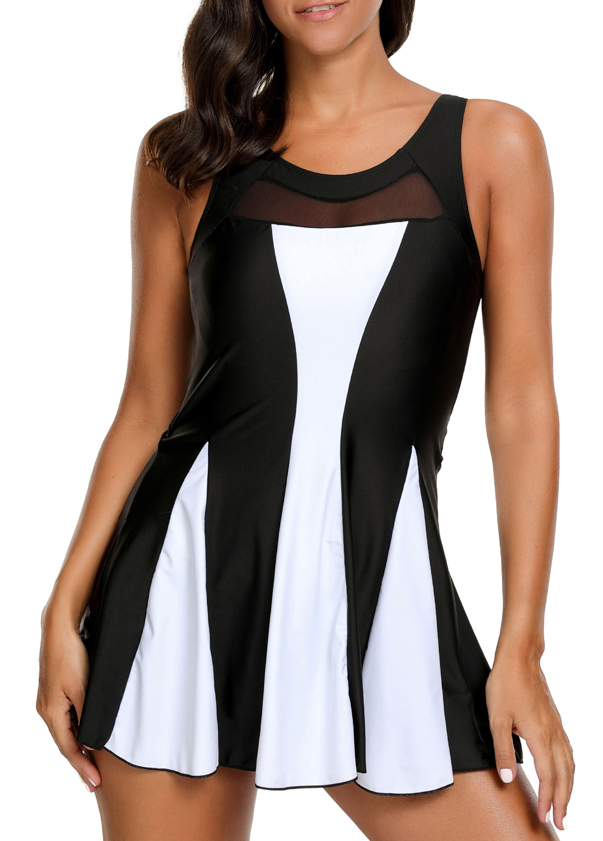 Contrast Panel Keyhole Back One Piece Swimdress