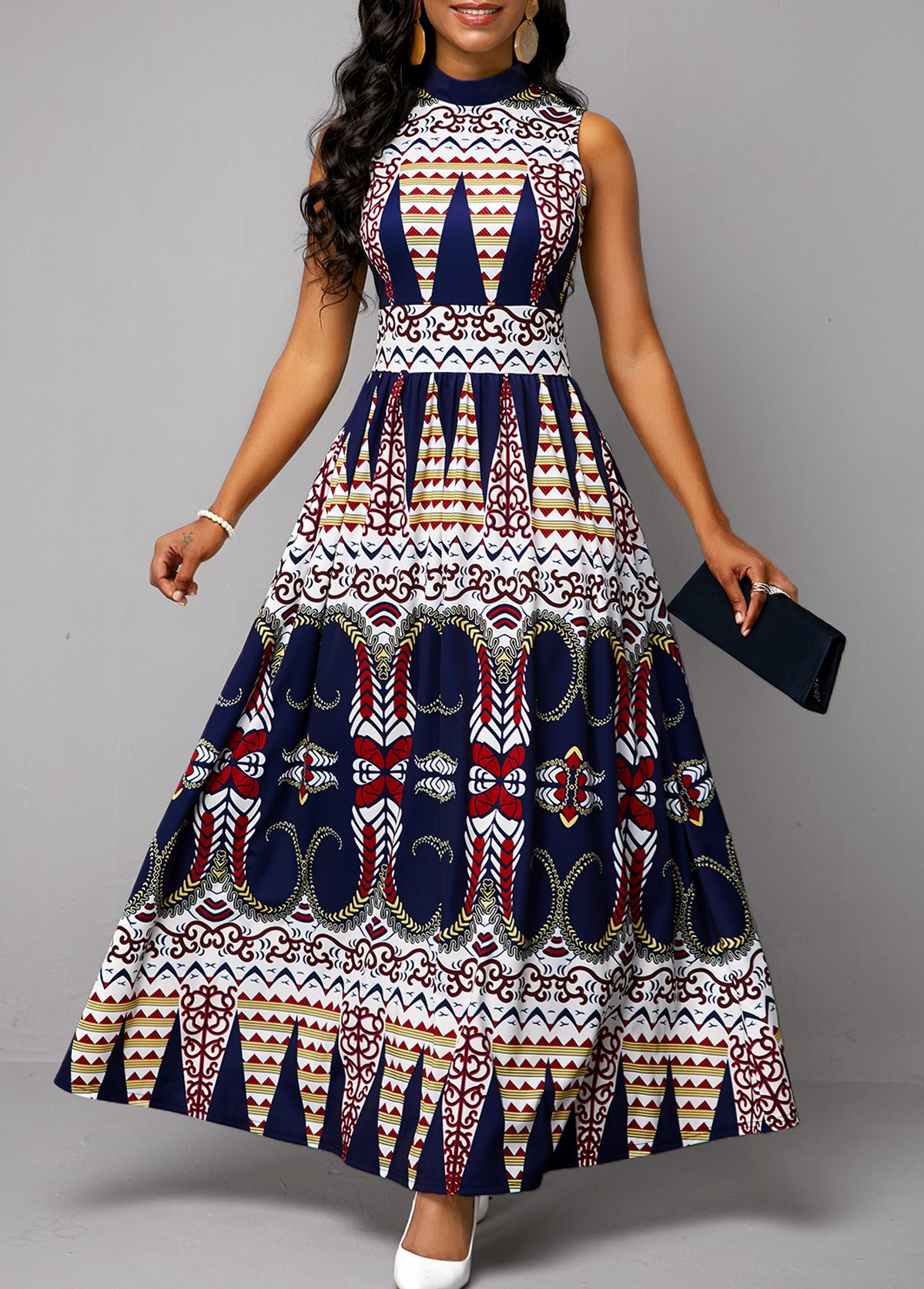 Mock Neck Tribal Print Sleeveless Dress