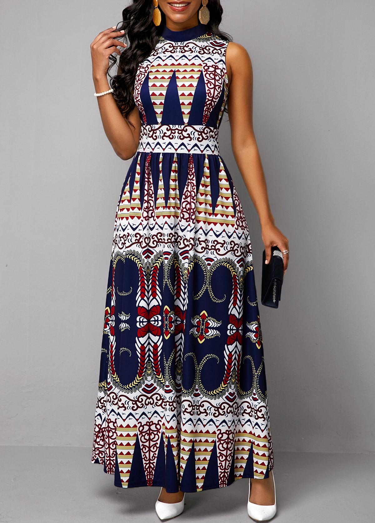 Mock Neck Tribal Print Sleeveless Dress