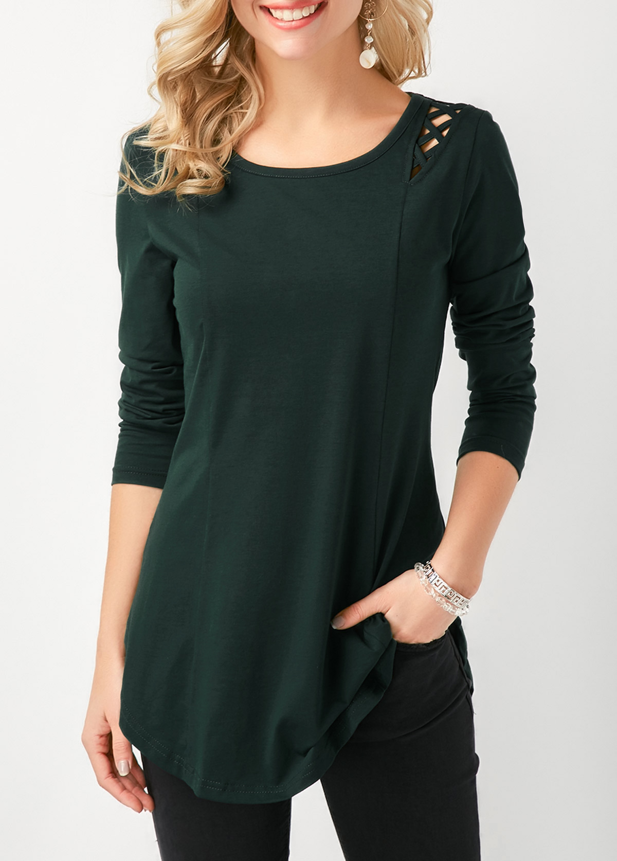 Curved Hem Lace Up Long Sleeve T Shirt