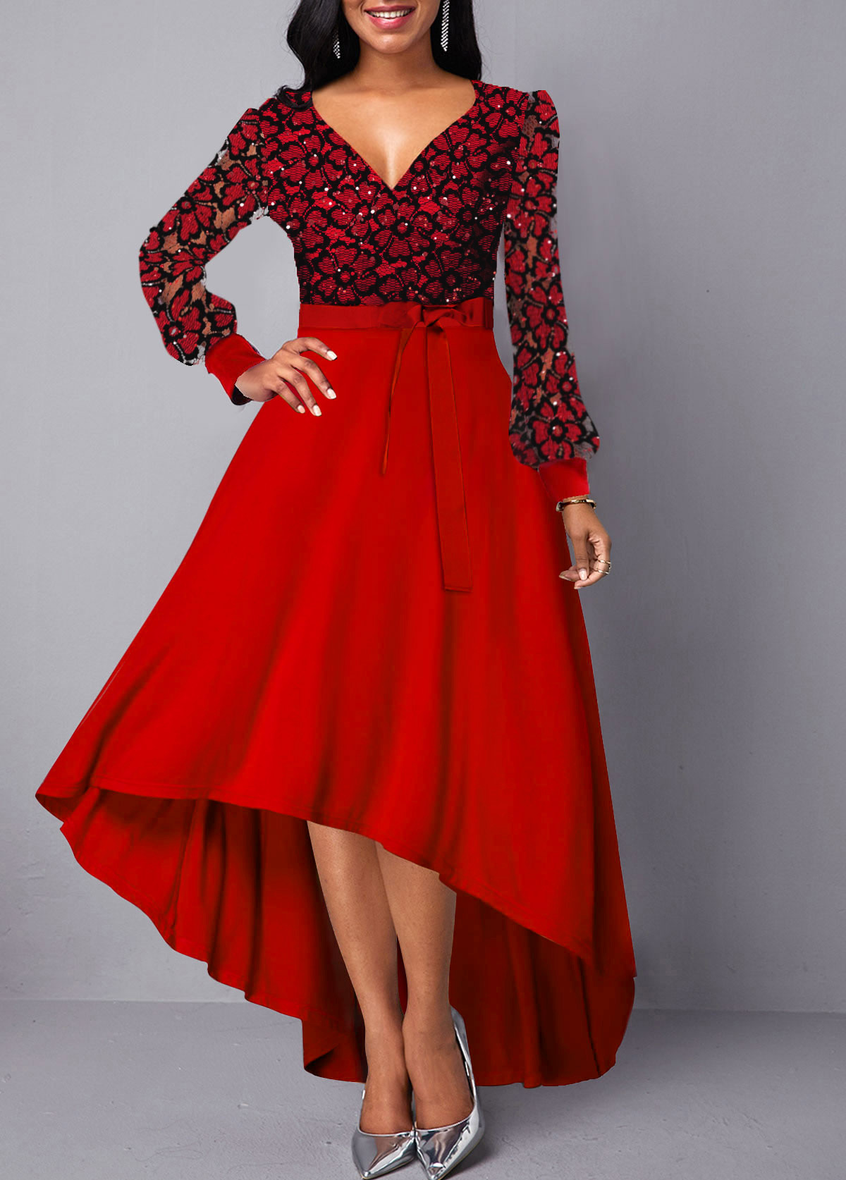 Long Sleeve Lace Panel Belted Maxi Dress