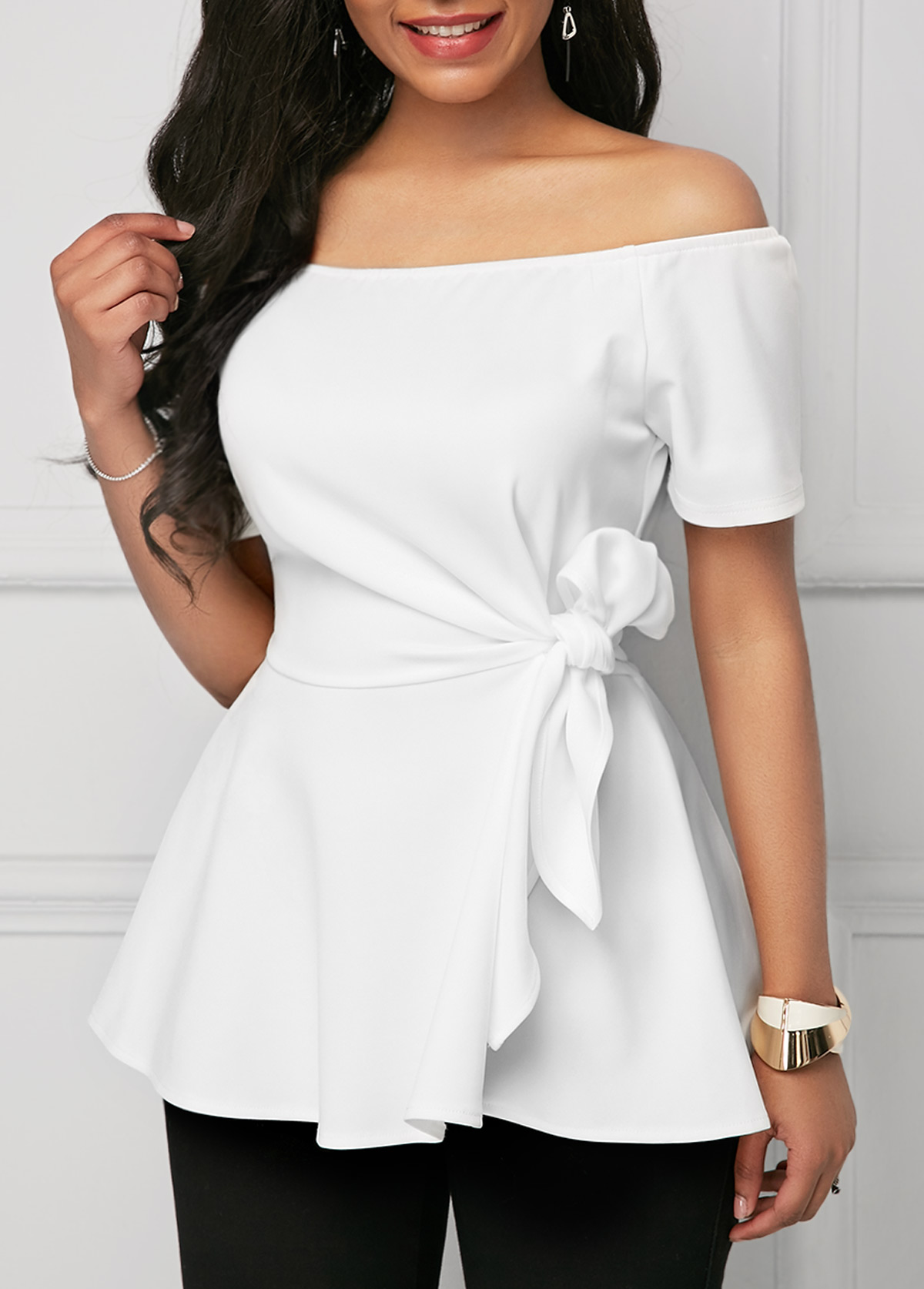 Tie Side Off the Shoulder White Blouse