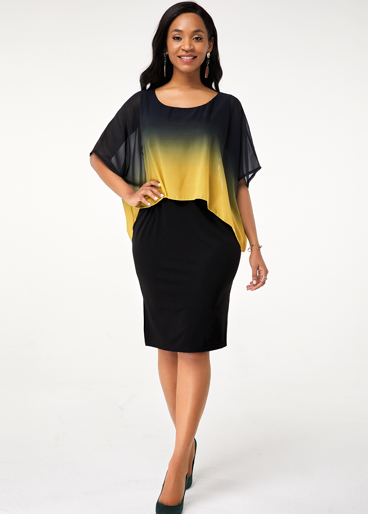 Gradient Printed Faux Two Piece Round Neck Dress