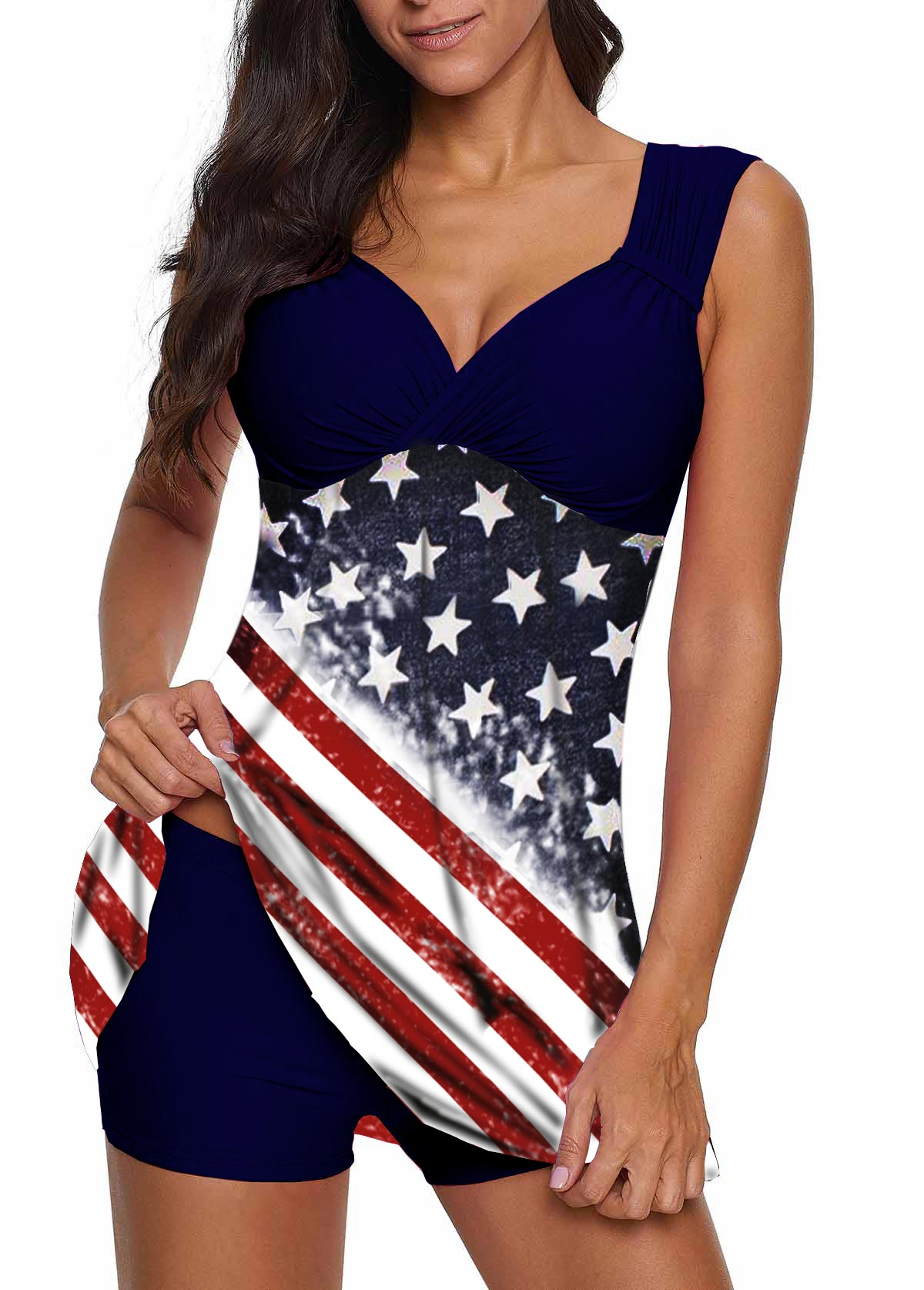 Navy Blue Wide Strap Flag Print Swimdress and Shorts