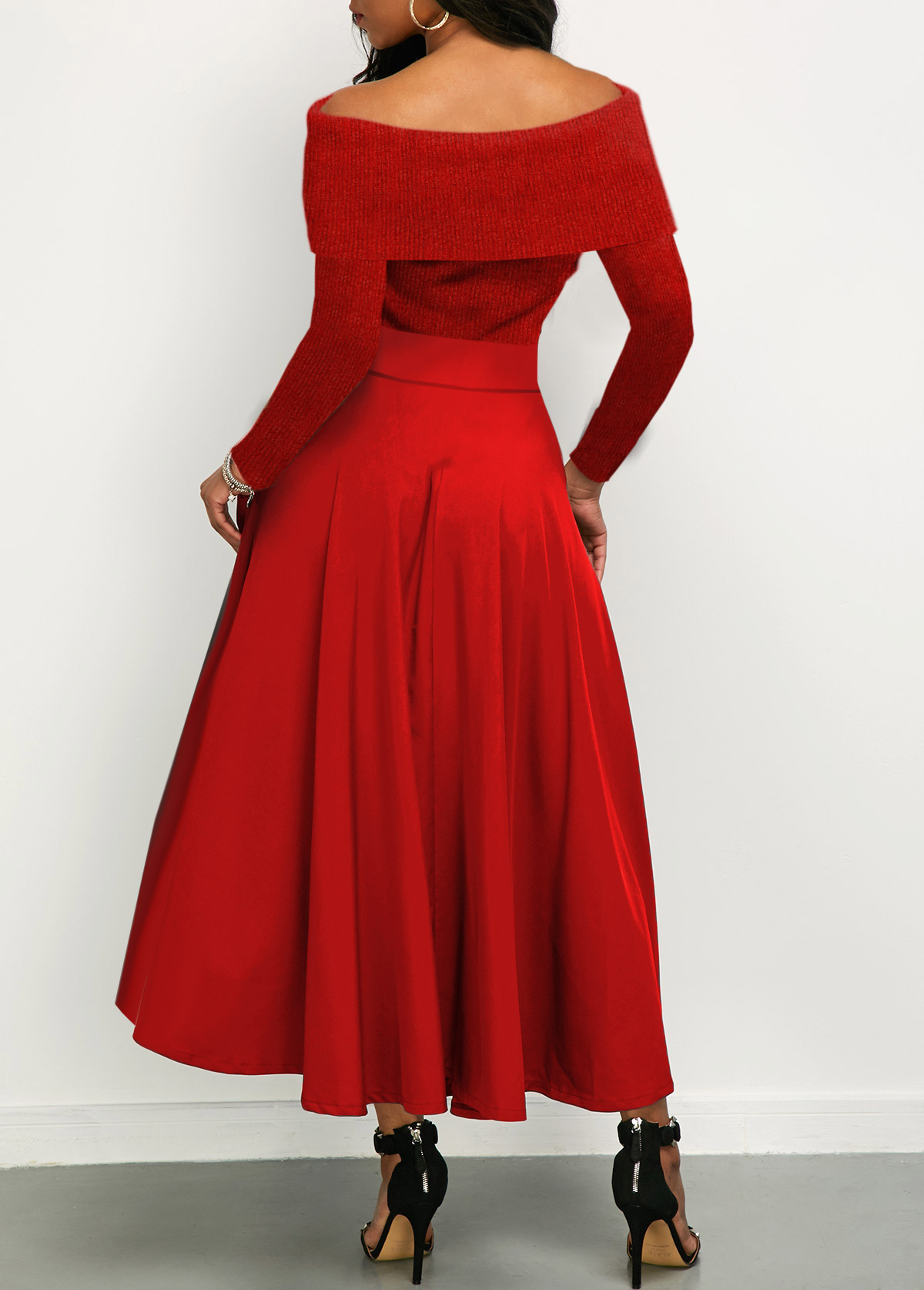 Bowknot Detail Off the Shoulder Red Maxi Dress